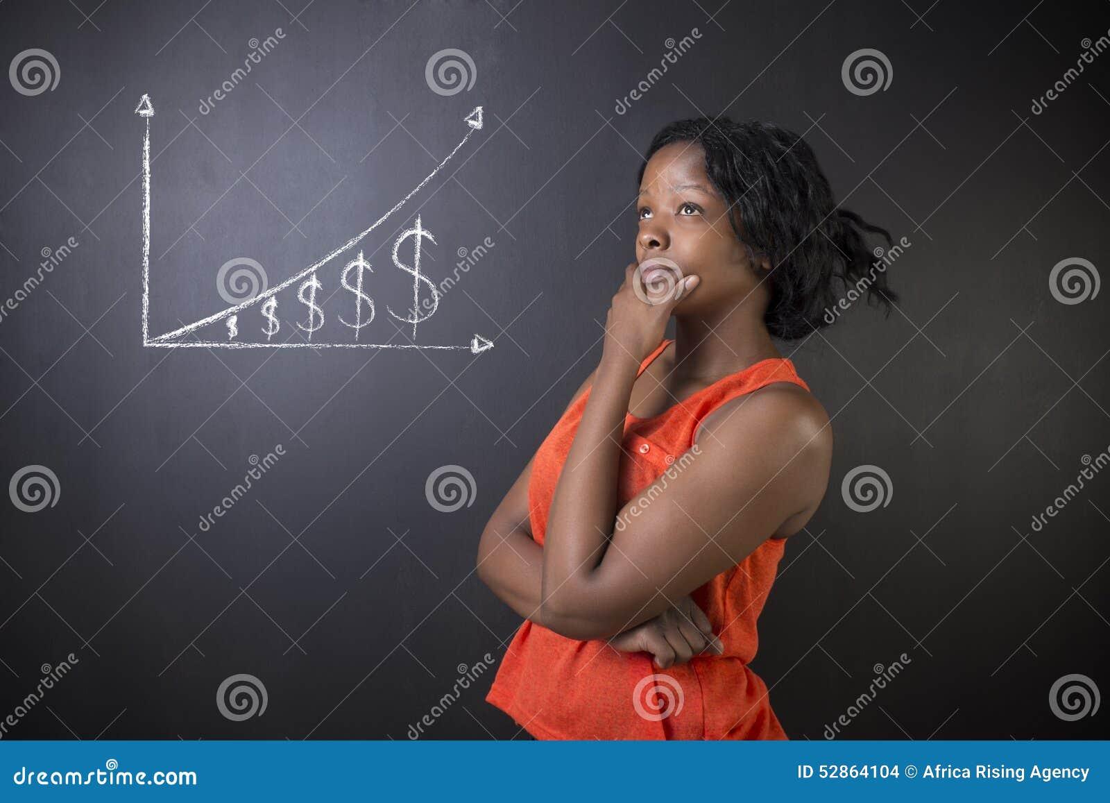 Södra - afrikan eller afrikansk amerikankvinnalärare eller student mot graf för pengar för svart tavlakrita