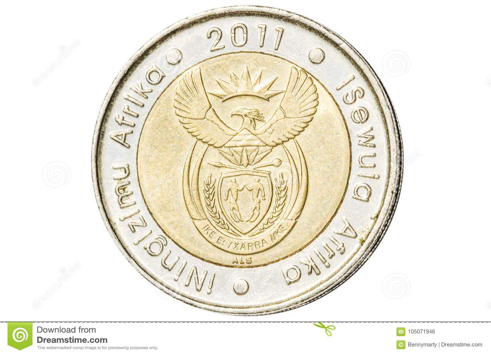 Södra - afrikan fem rand mynt