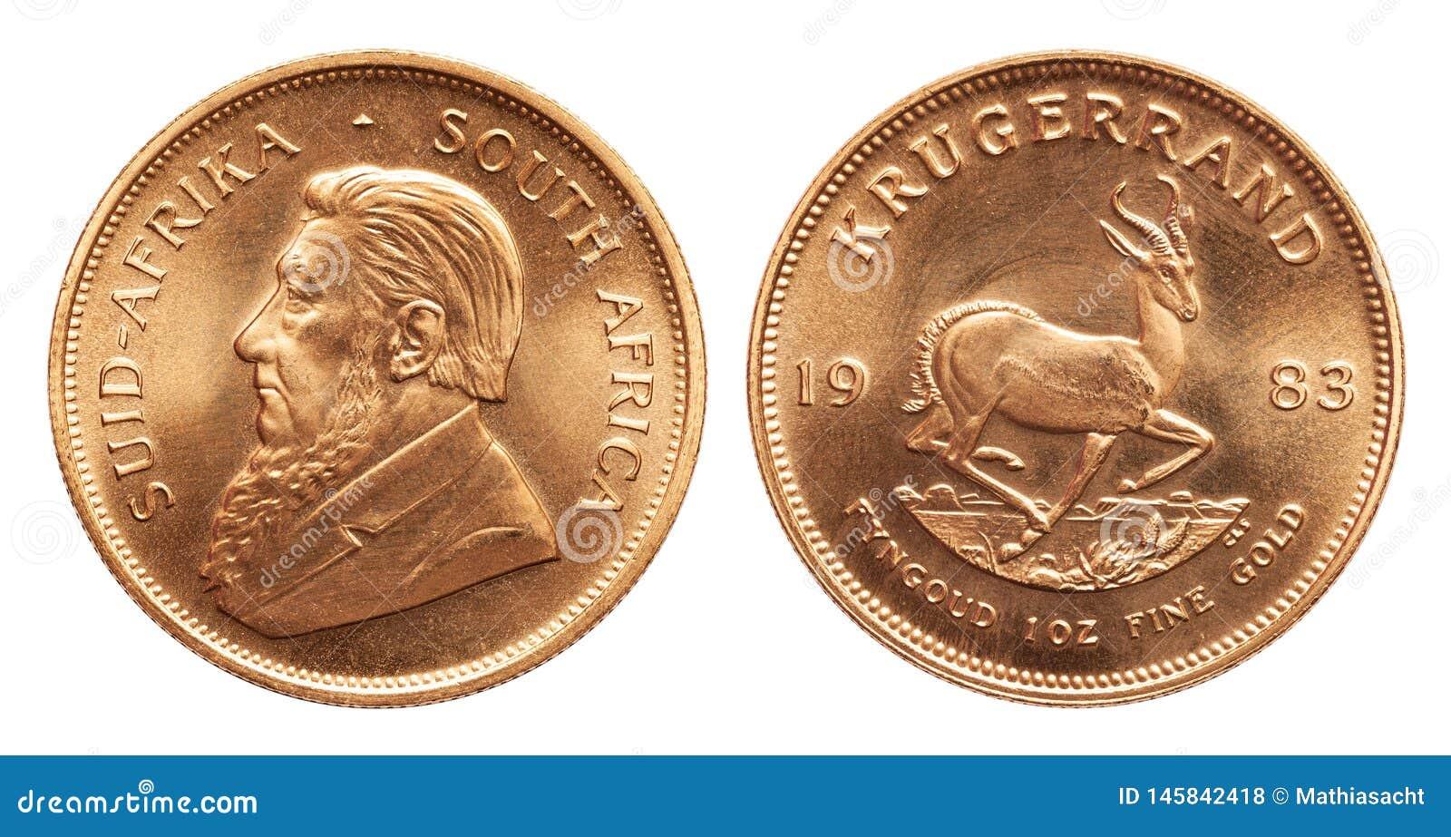 Södra - afrikansk krugerrand mynt 1 uns för guld- guldtacka som isoleras på vit bakgrund