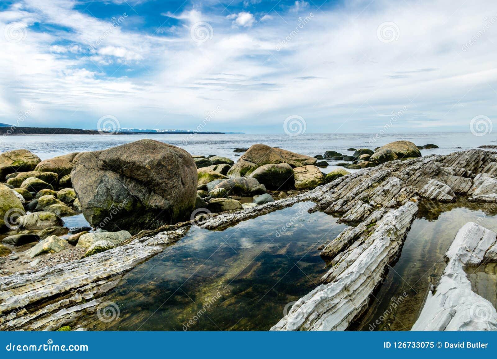 Södra sida av kvastpunkt, Gros, Morne, Newfoundland, Kanada