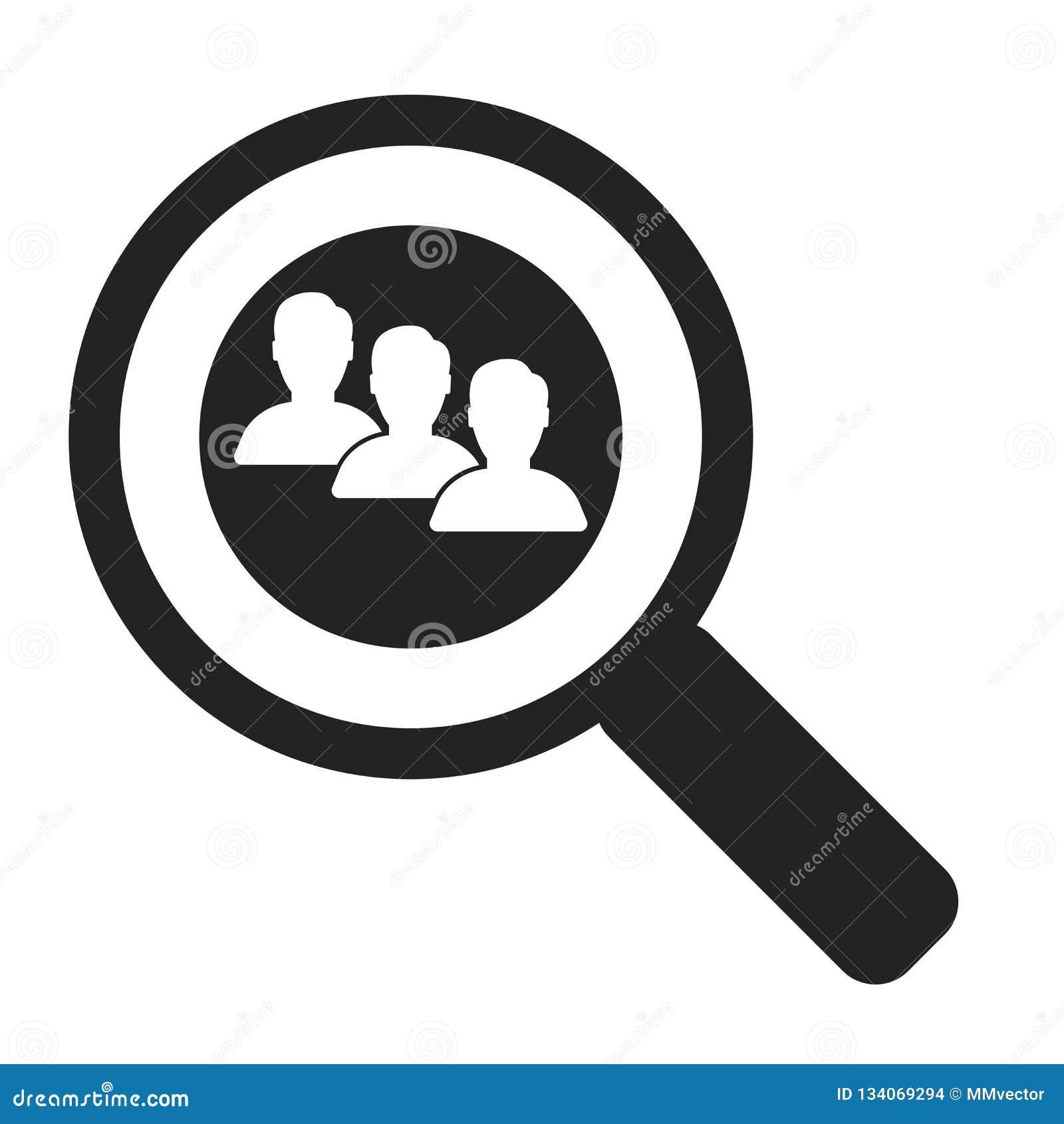 Sök det symbolsvektortecknet och symbolet som isoleras på vit bakgrund, sökandelogobegrepp