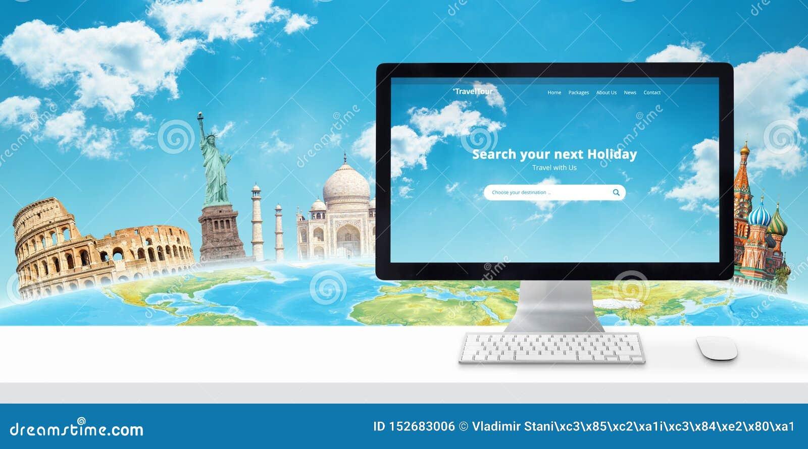 Sökande för ferieonline-begrepp med datorskärm och berömda världsplatser bak jordklotet