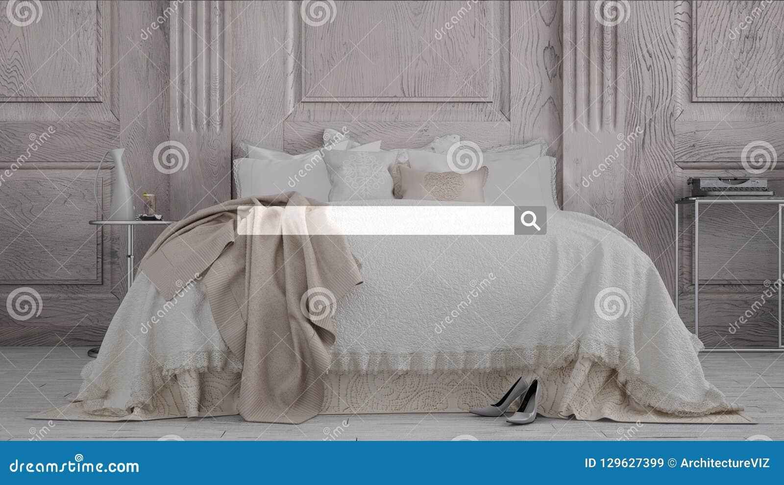 Sökande som bläddrar, information om internetdata, över klassiskt sovrum med dubbel mjuk säng