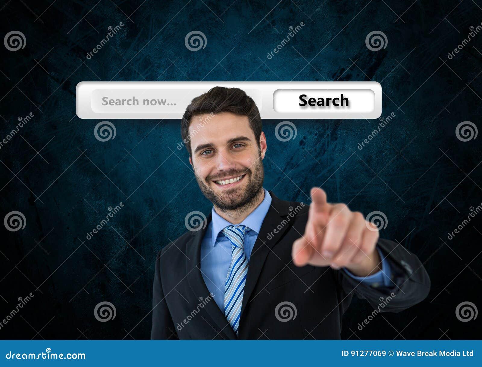 Sökandestång med att peka för affärsman