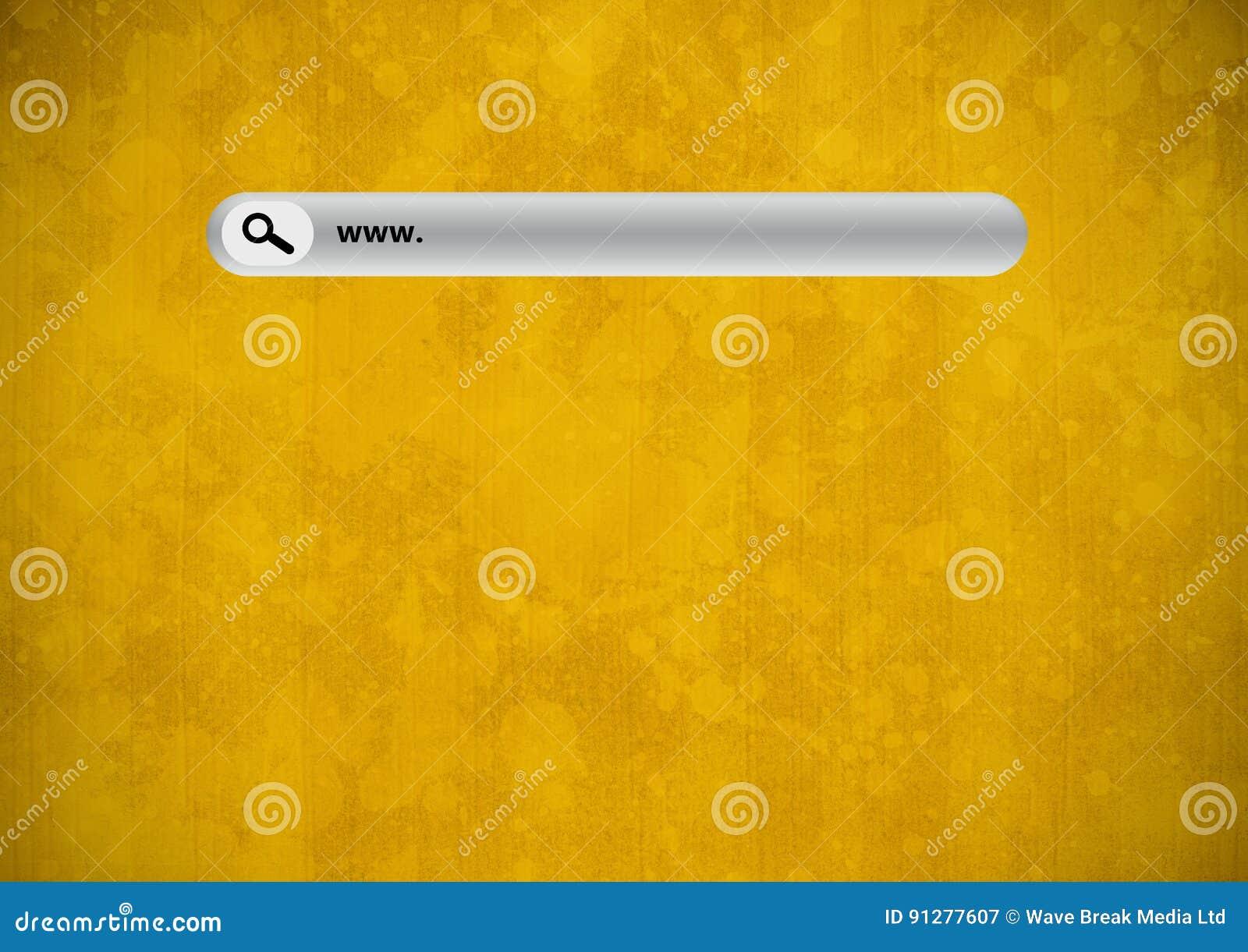 Sökandestång med gul grungebakgrund