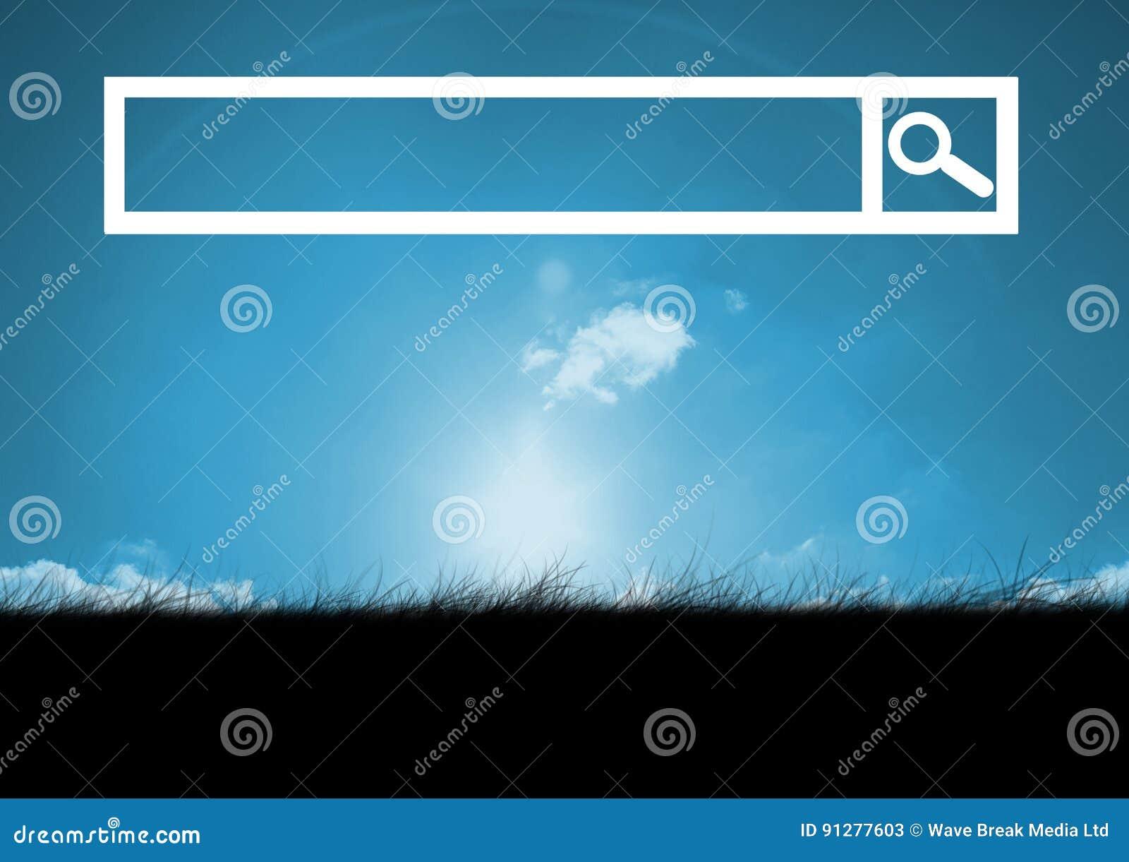 Sökandestång med himmel- och gräsbakgrund