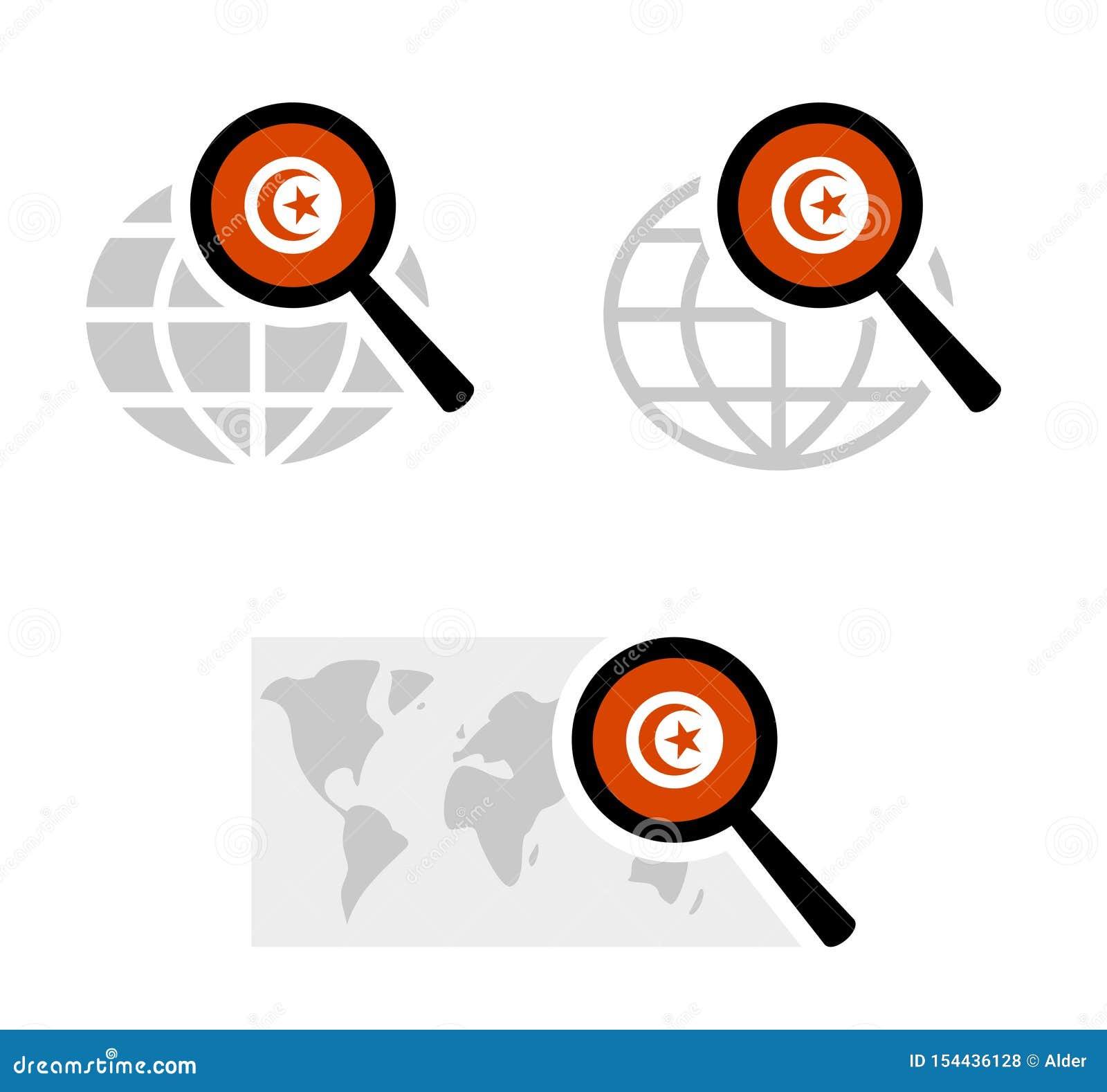 Sökandesymboler med den tunisian flaggan
