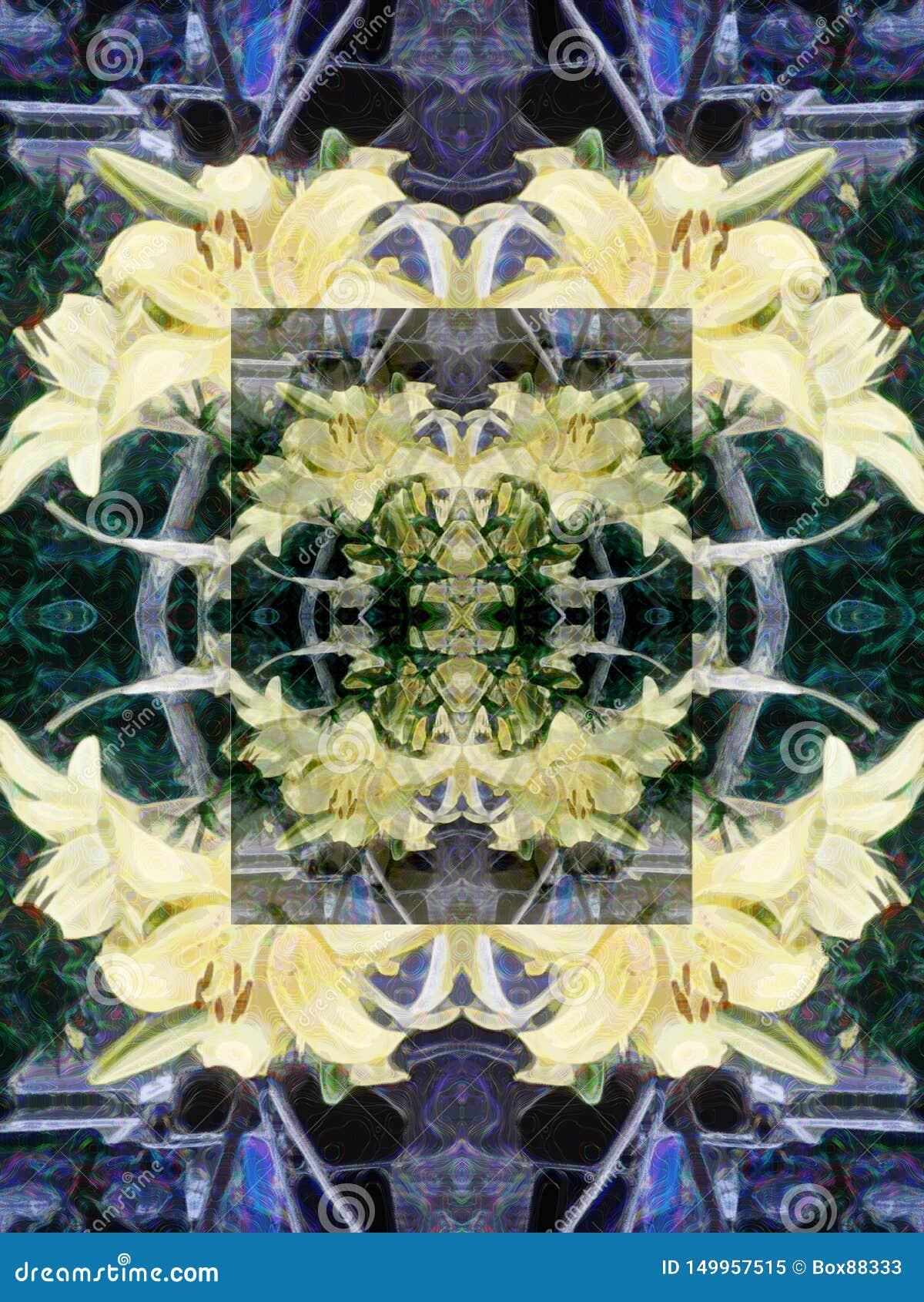 Sömlös abstrakt modell av mångfärgade blom- beståndsdelar