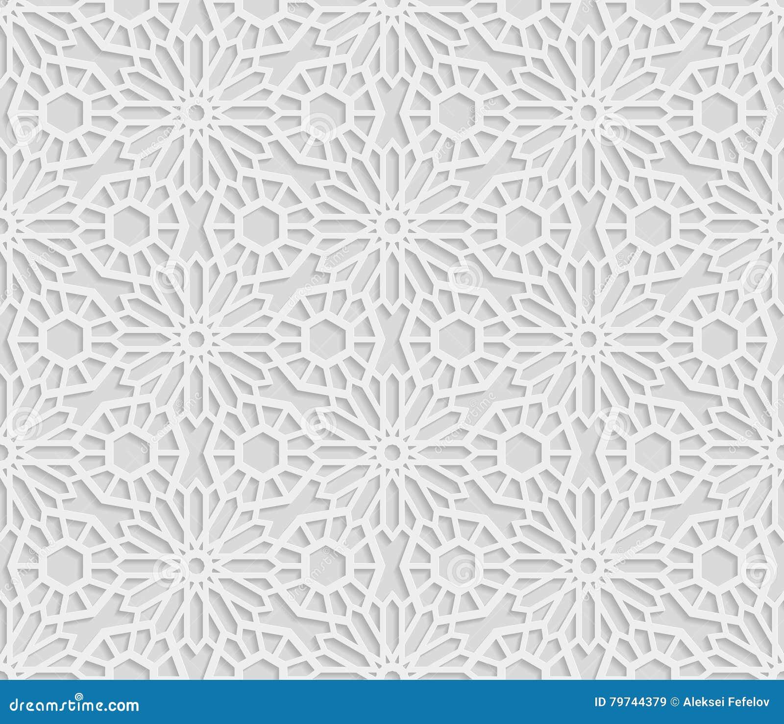 Sömlös arabisk geometrisk modell, 3D vit modell, indisk prydnad, persiskt motiv, vektor Ändlös textur