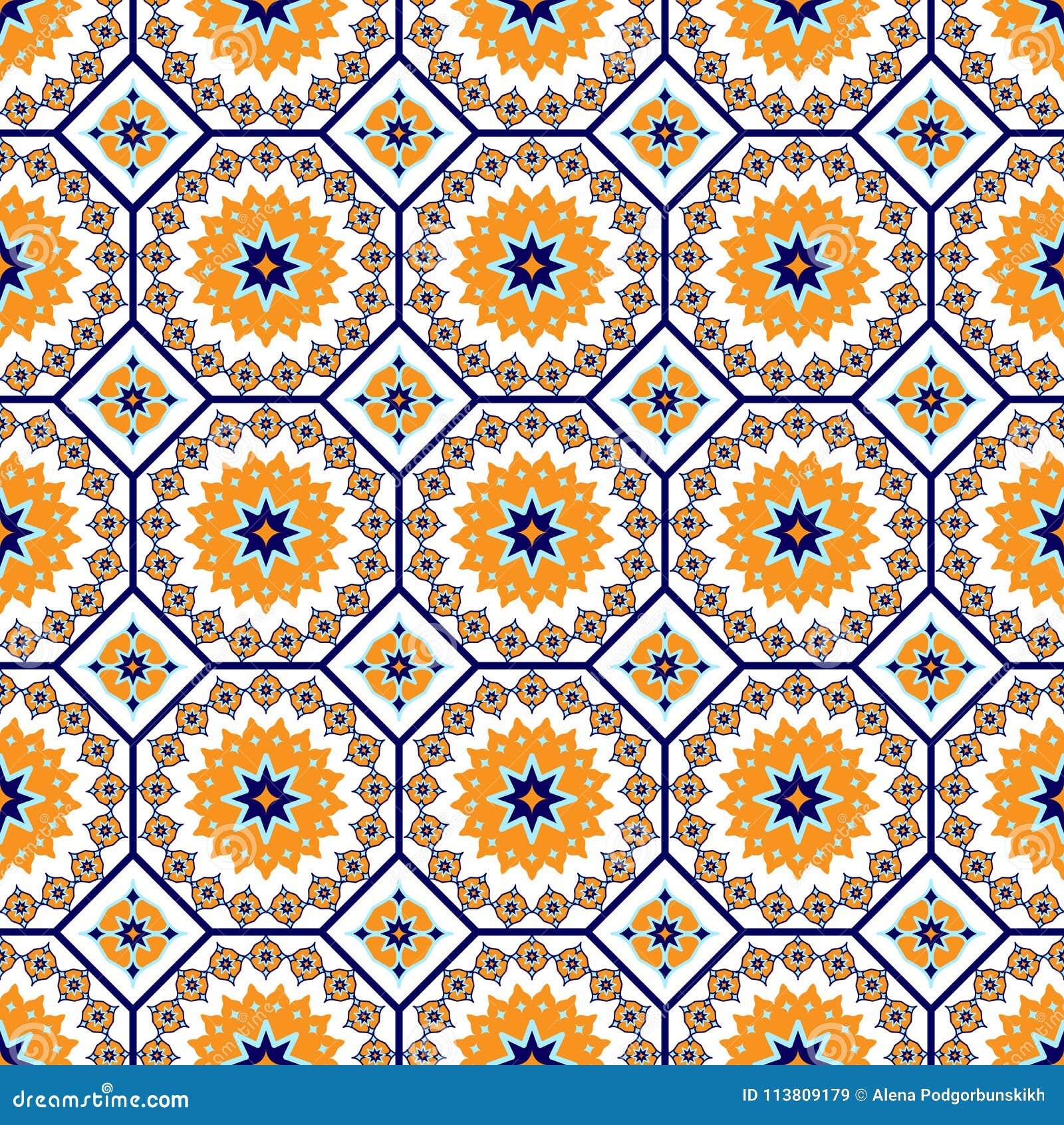 Sömlös arabisk modell för vektor Arabesque Ramazan, hälsning, lycklig månadRamadan Sömlös geometrimodell för islam