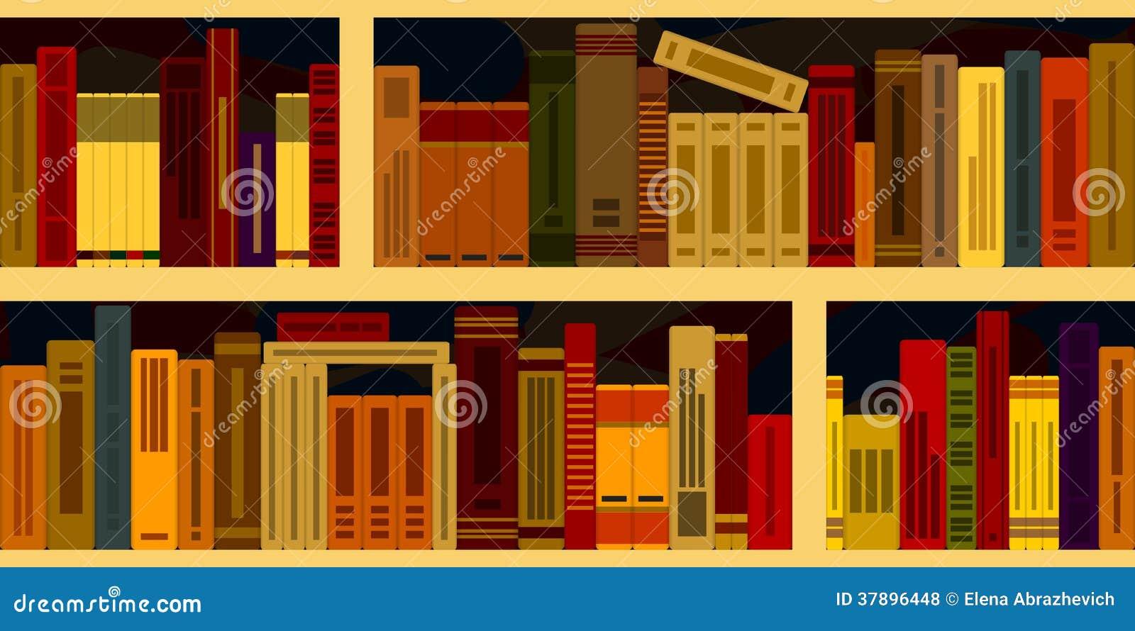 Sömlös bakgrund från bokhyllor