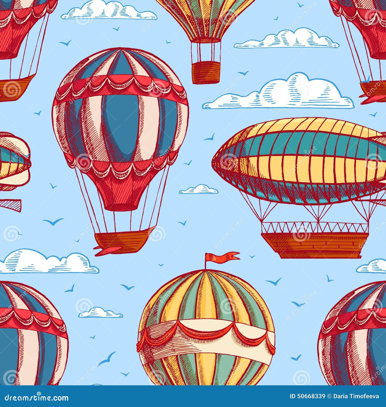 Sömlös bakgrund med färgrika ballonger och luftskepp