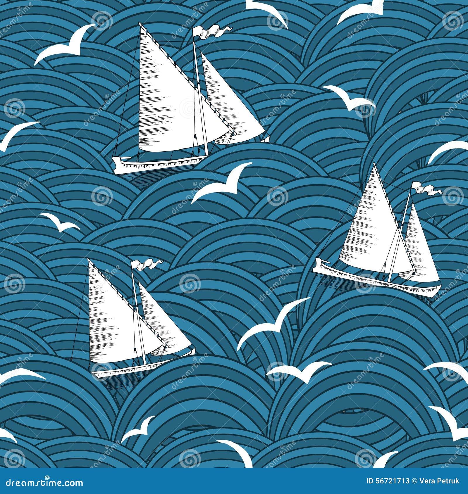 Sömlös bakgrund med skepp i vågor