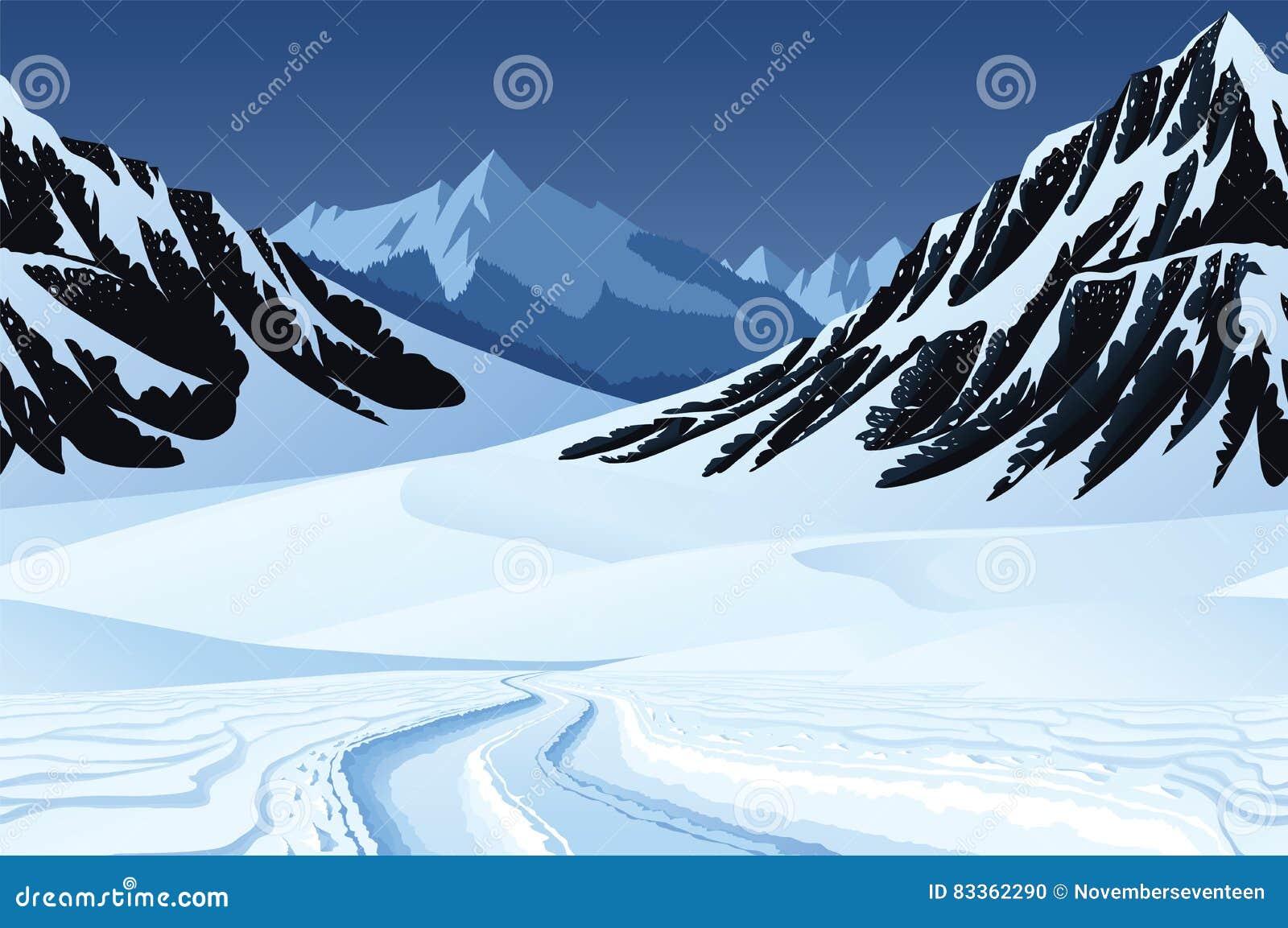 Sömlös bakgrund med vinterlandskap, berg, snö