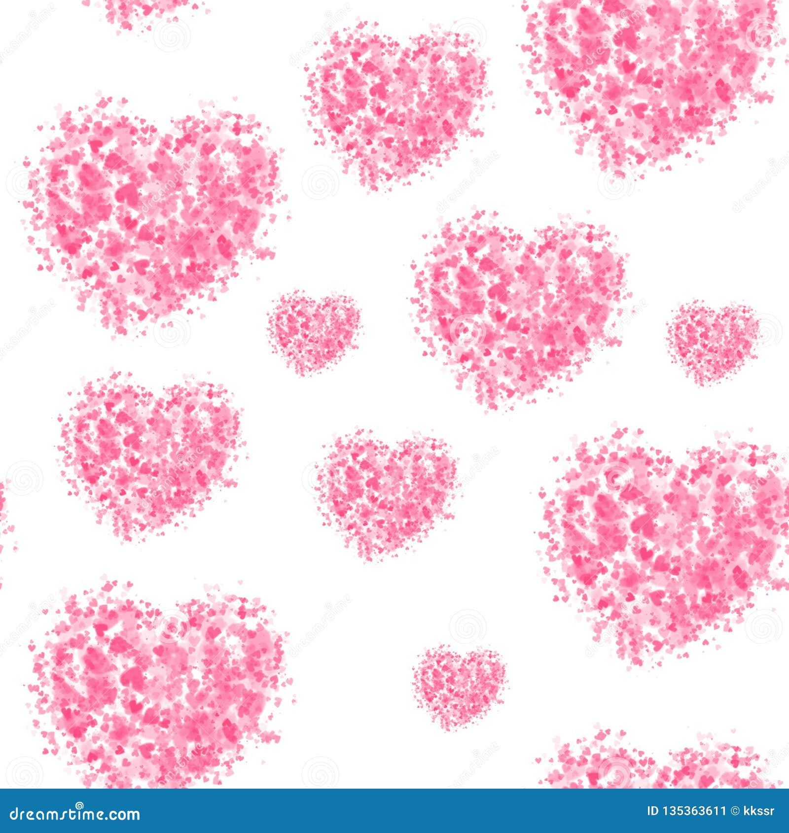 Sömlös belägga med tegel modell för hjärtor på vit bakgrund För valentin dag gåvainpackningspapper
