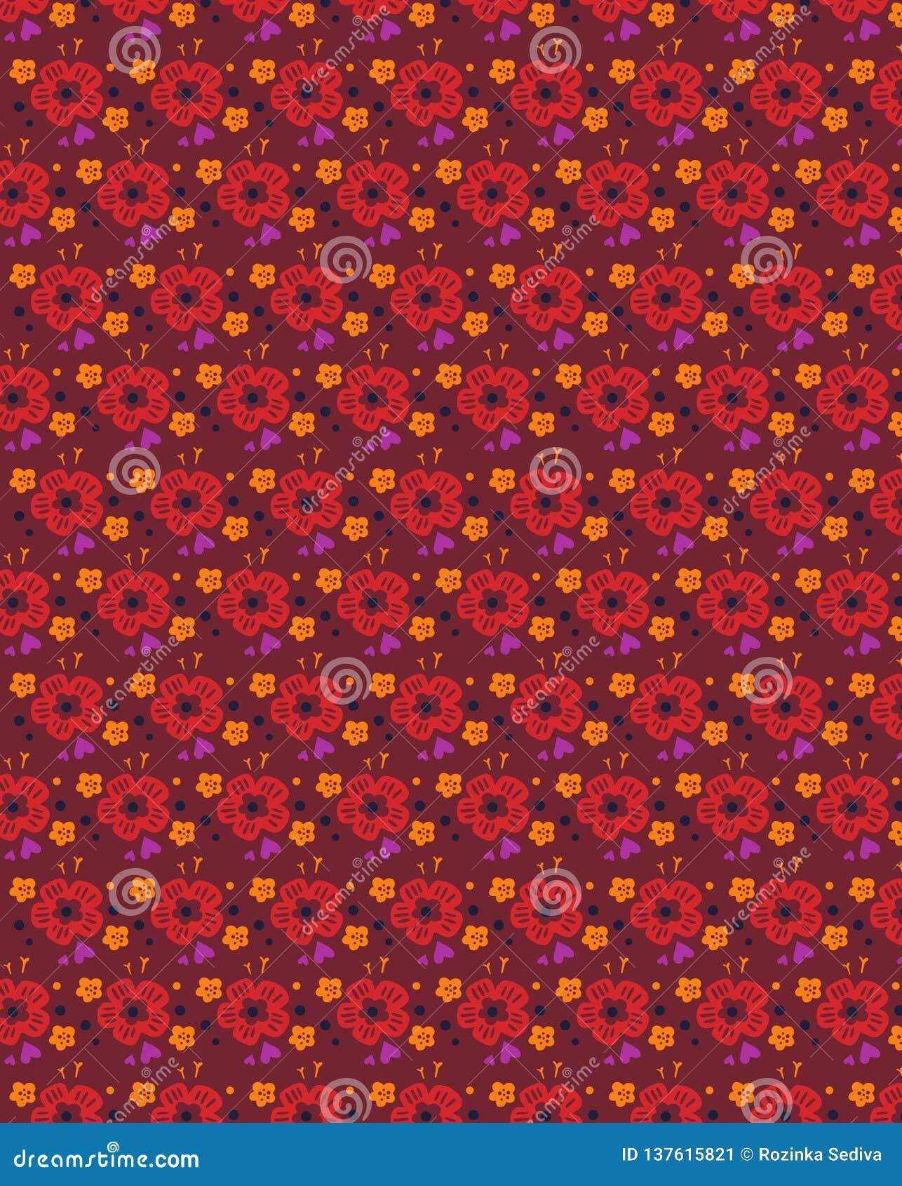 Sömlös blom- modell för Grunge med utdragna djärva former för hand Textur för rengöringsduken, tryck, textil, tyg, vårsommarmode,