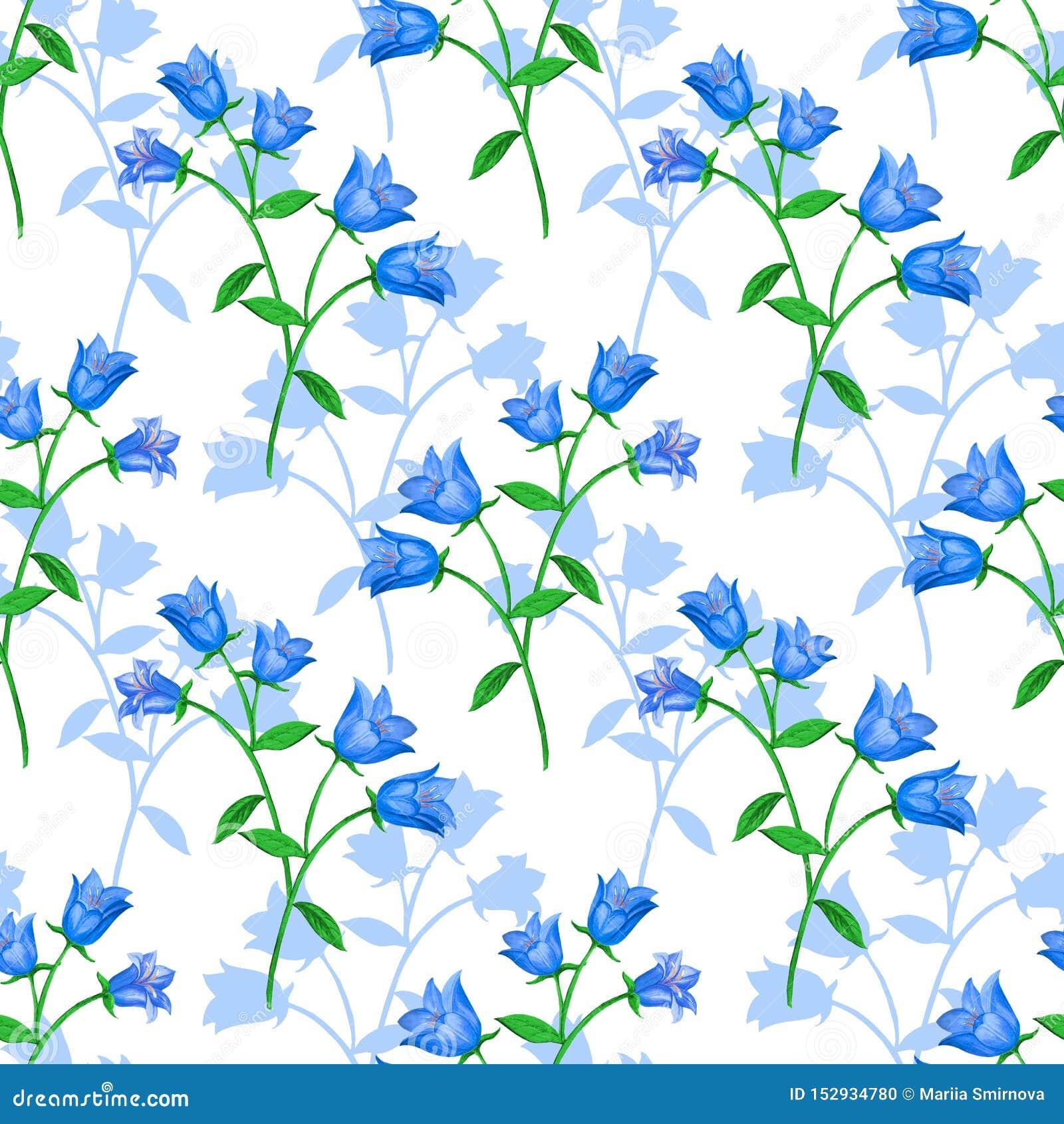 Sömlös blom- modell med blåa klockor och blommakonturer på vit bakgrund