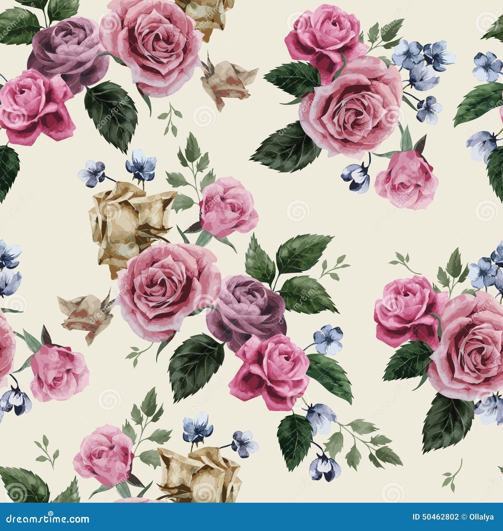 Sömlös blom- modell med rosa rosor på ljus bakgrund, wat