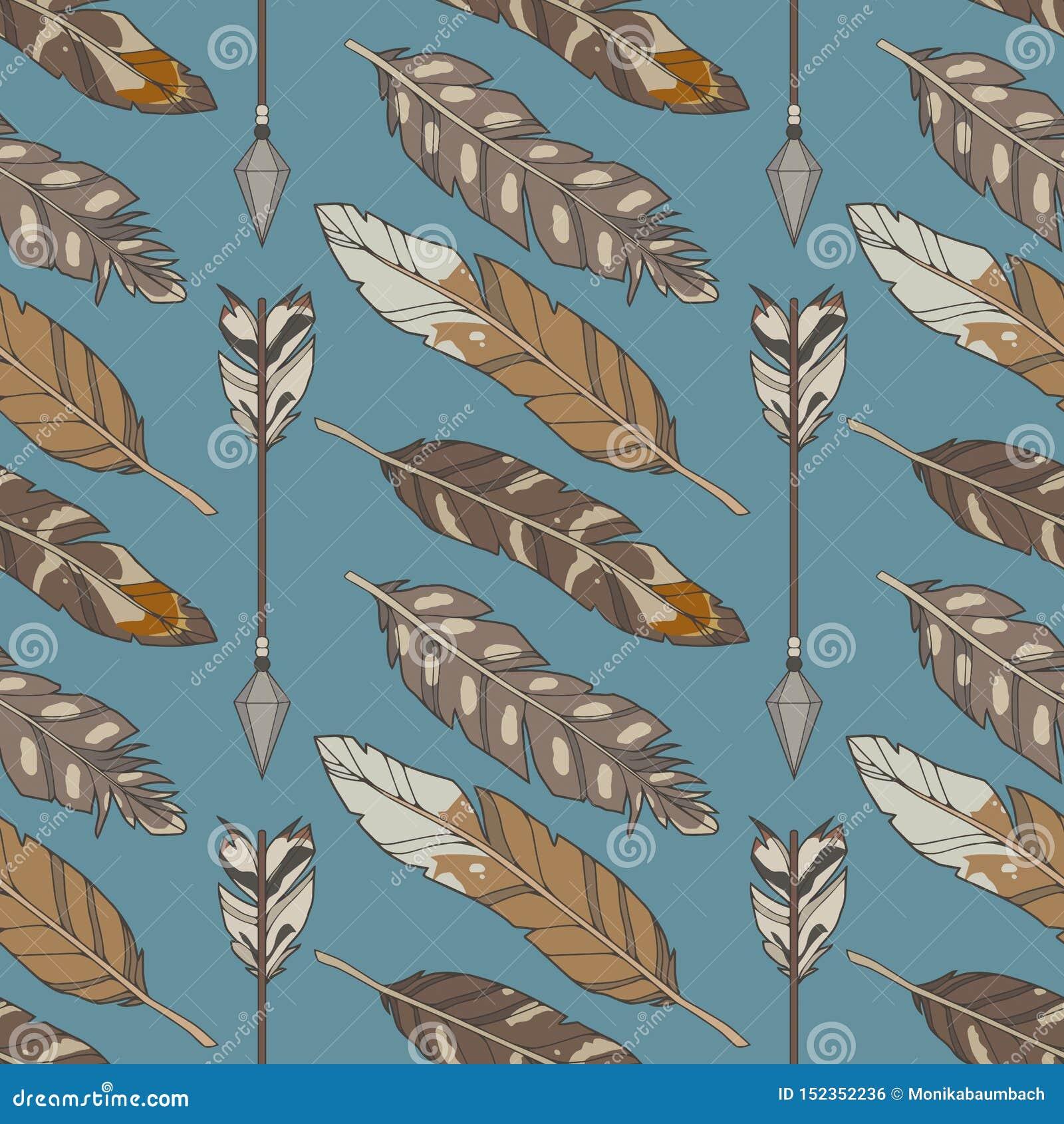 Sömlös boho för blå grafisk illustration och ethnomodell med naturliga örnfjädrar och pilar