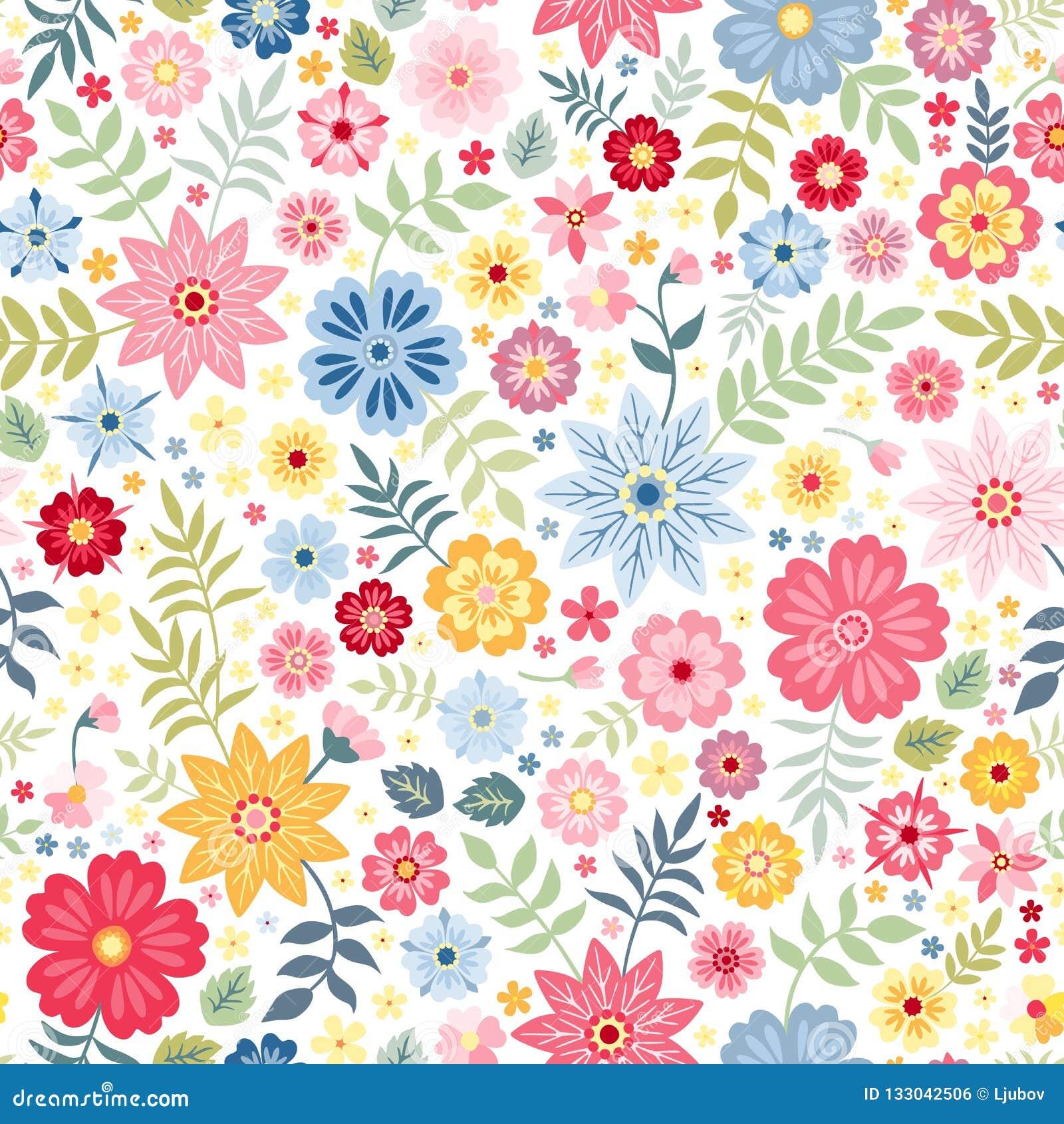 Sömlös ditsy blom- modell med gulliga små blommor på vit bakgrund också vektor för coreldrawillustration