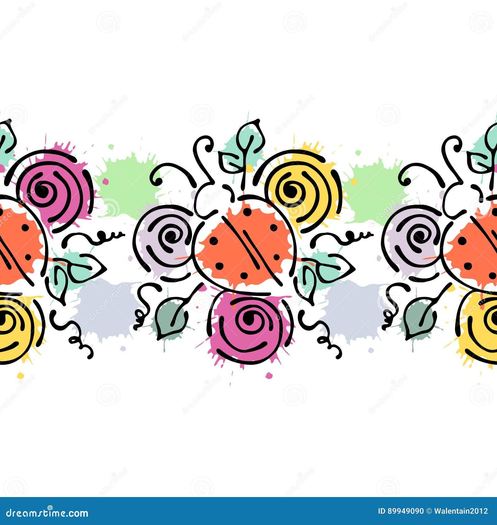 Sömlös dragen blom- modell för vektor hand, färgrik ram för ändlös gräns med blommor, sidor Dekorativ gullig grafisk linje drawin