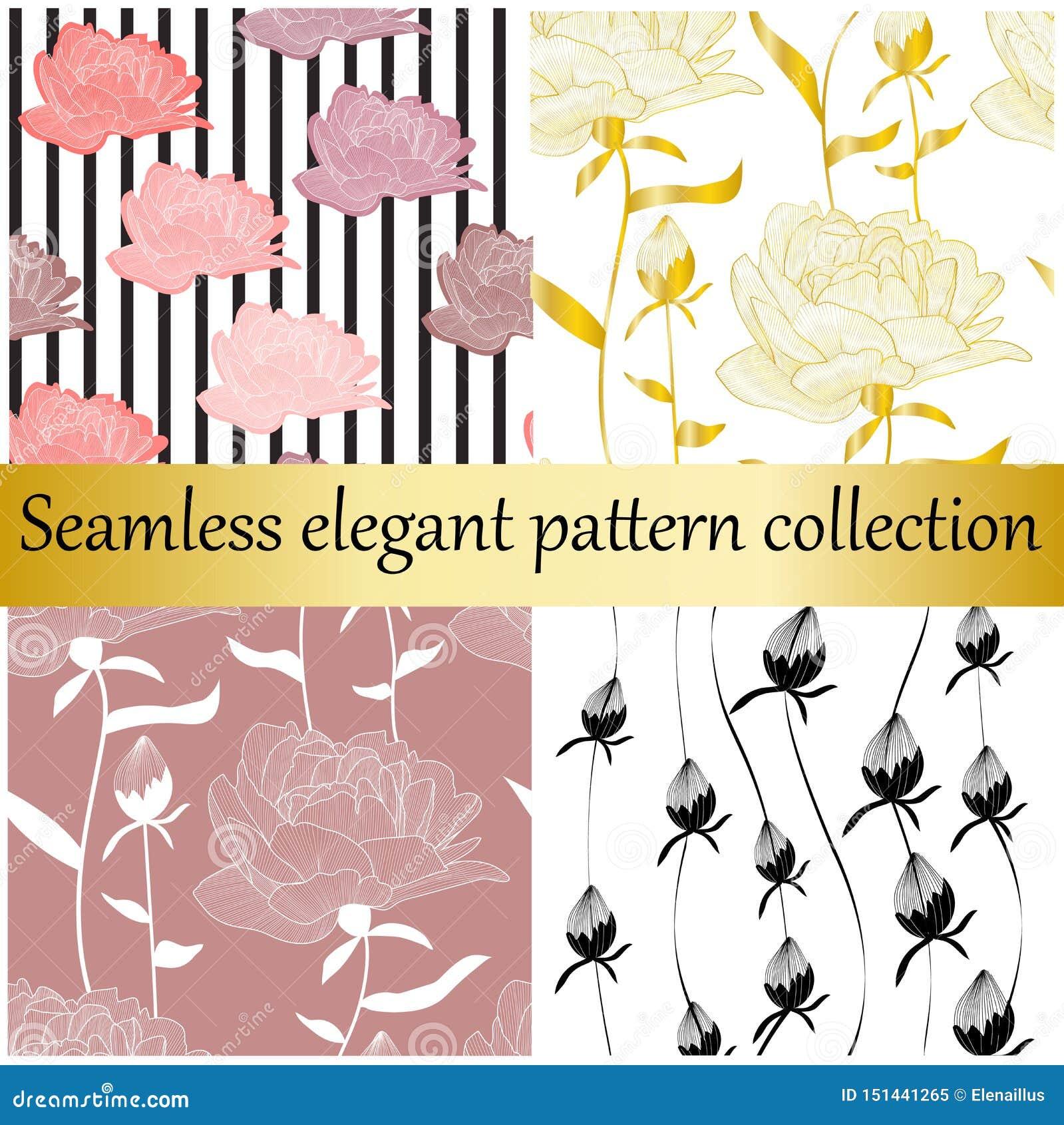 Sömlös elegant samling för vektor Utdragna texturer för guld- och blom- hand, tryck, bakgrunder