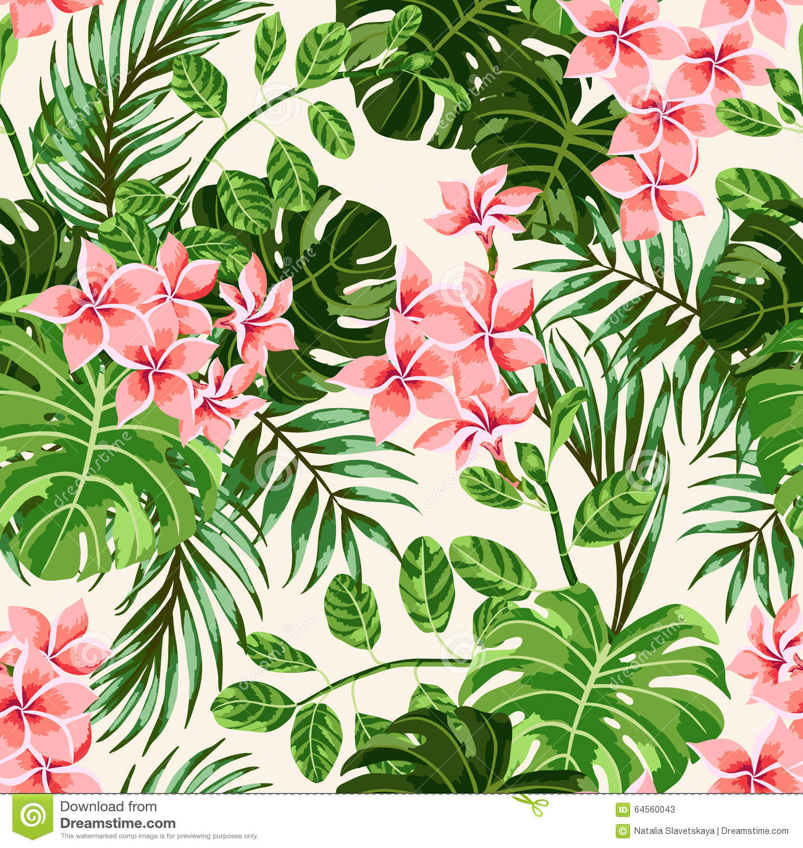 Sömlös exotisk modell med tropiska sidor och blommor