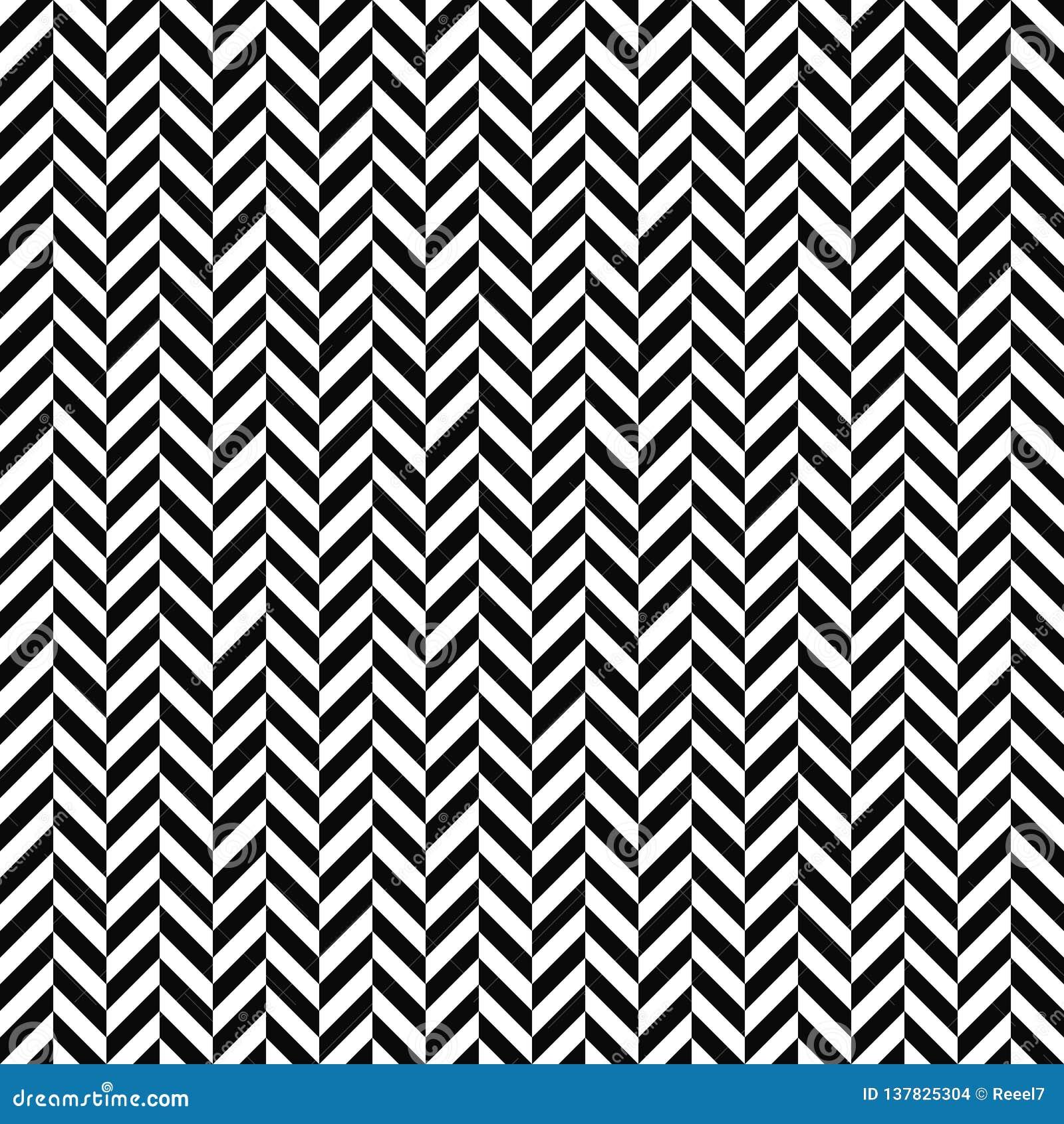 Sömlös fiskbensmönstermodell för vektor geometrisk textur Svartvit bakgrund Monokrom design