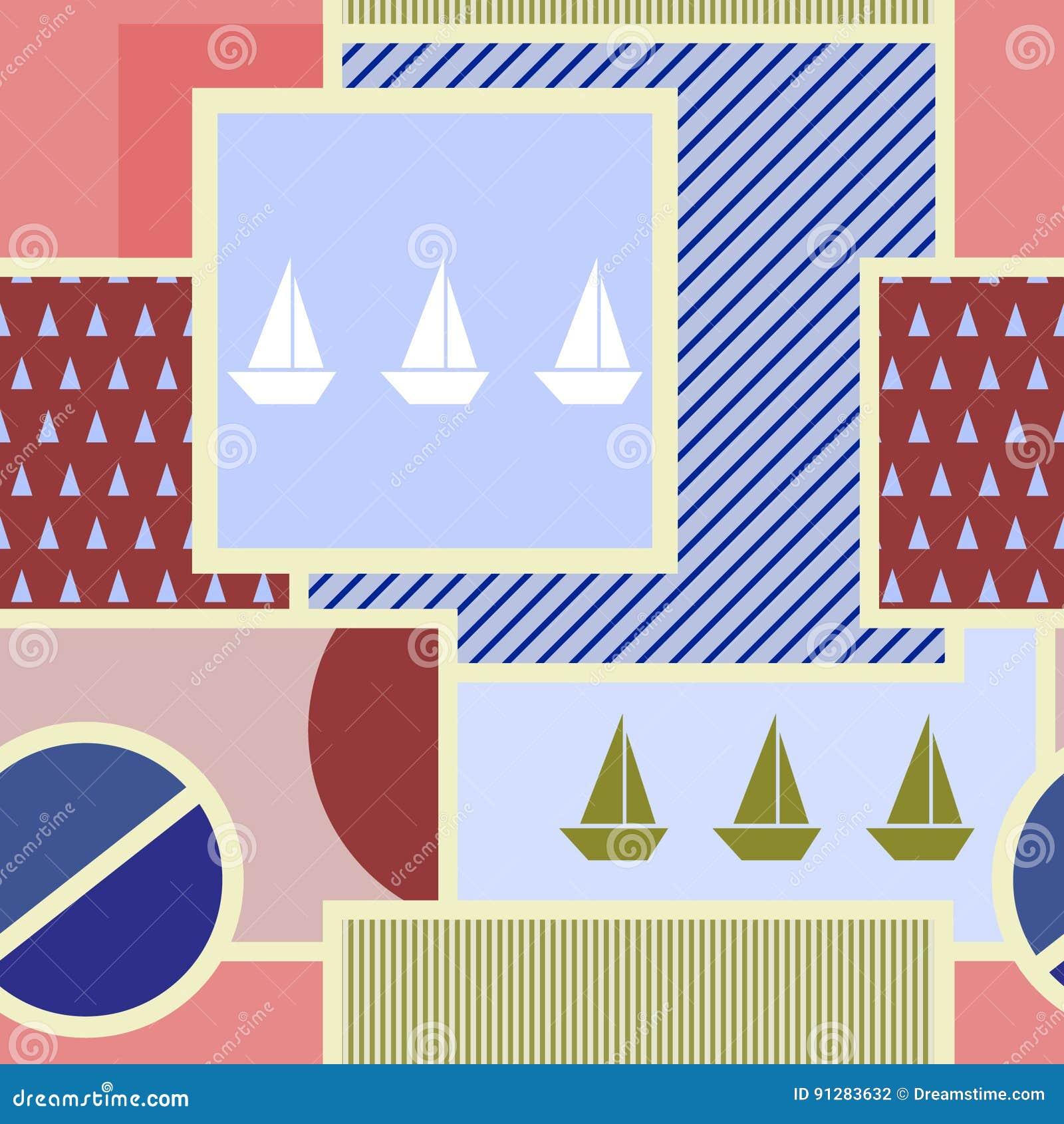 Sömlös geometrisk modell med konturn av skeppet, cirkeln, fyrkanten, triangeln, band och andra beståndsdelar