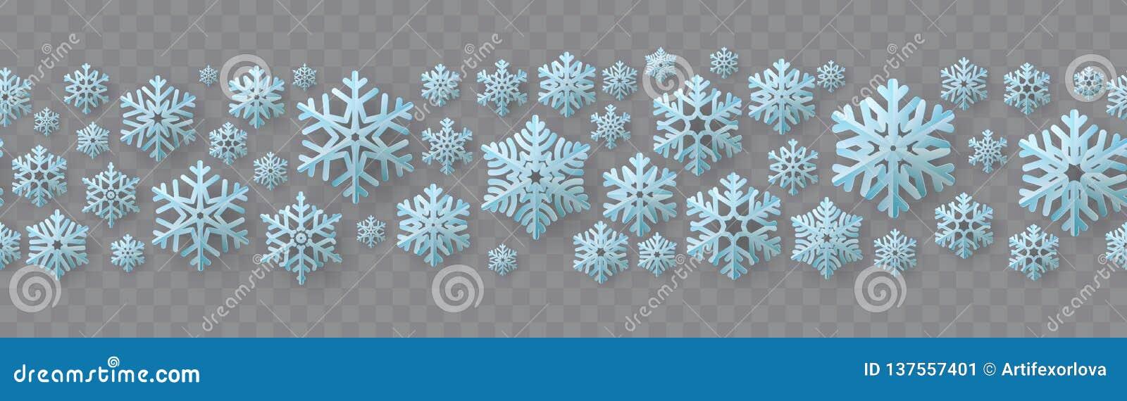 Sömlös gräns för jul och för nytt år med pappers- snöflingor 10 eps