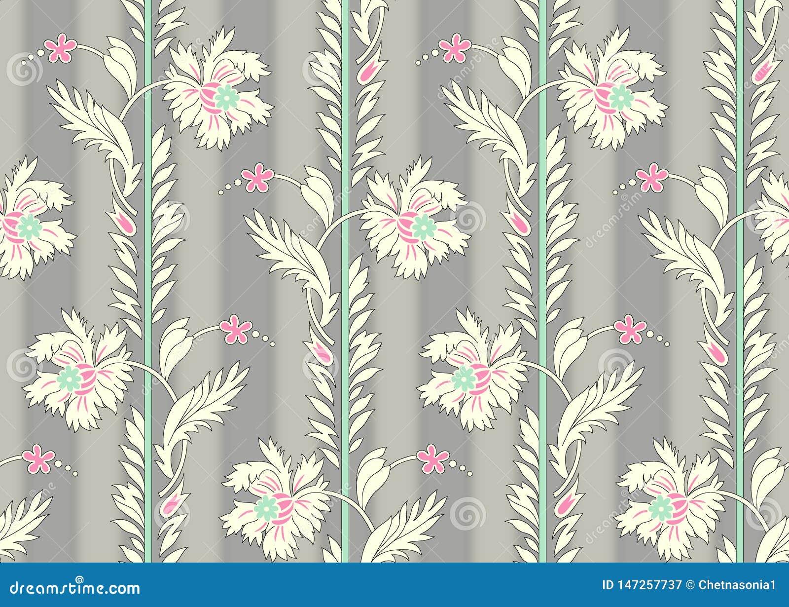 Sömlös härlig blommamodell med grå skuggabakgrund