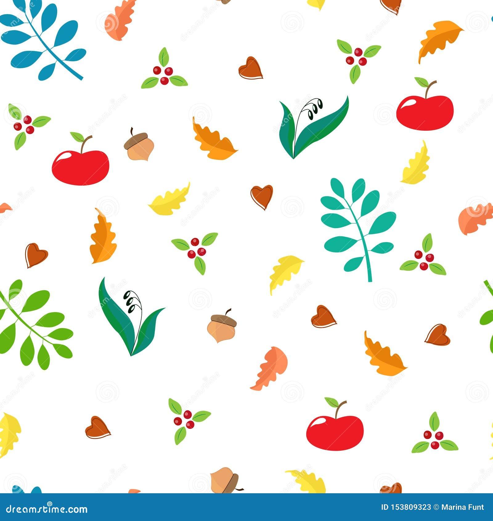 Sömlös höstmodell med eksidor, äpplen, lingon, ekollonar, blåa sidor
