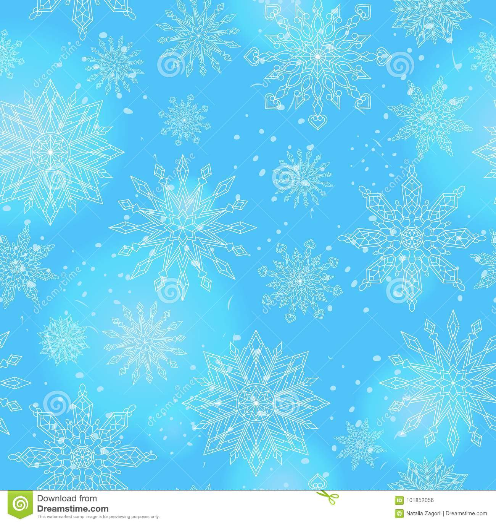 Sömlös illustration på temat av vintern och vinterferier, konturen av snöflingan och signalljus, vita snöflingor på en bl