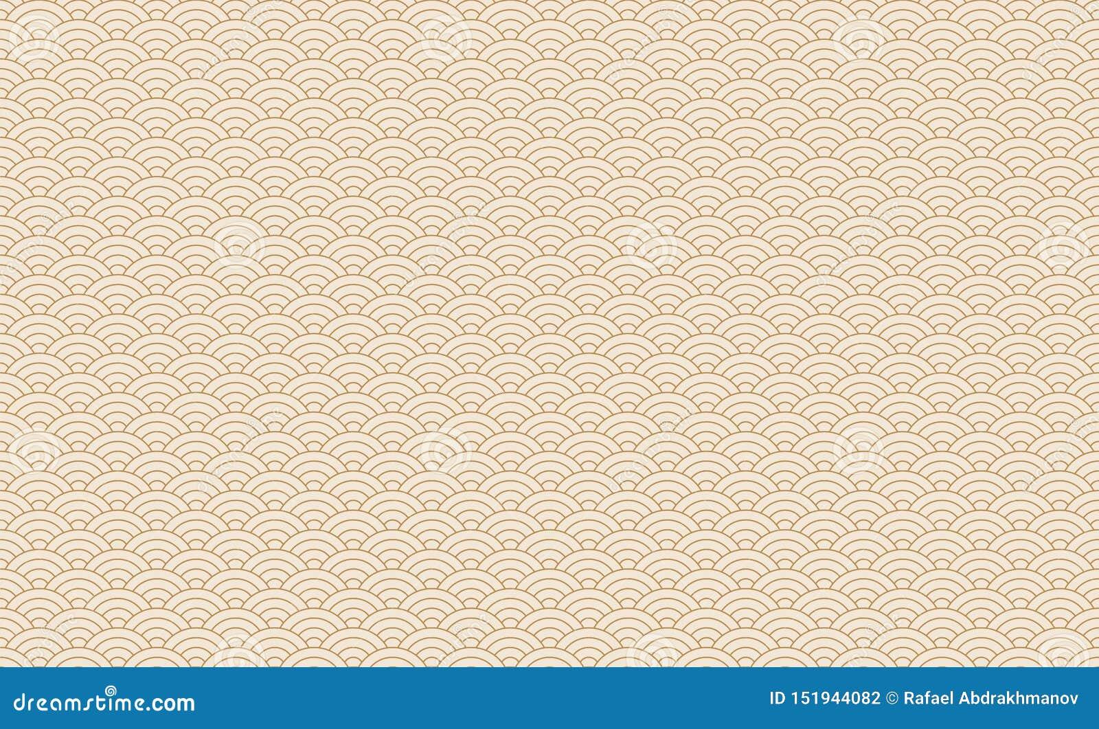 Sömlös japansk vågmodell Upprepa textur för kines för havvattenkurva Guld- och vit linje konstvektorillustration Tappning