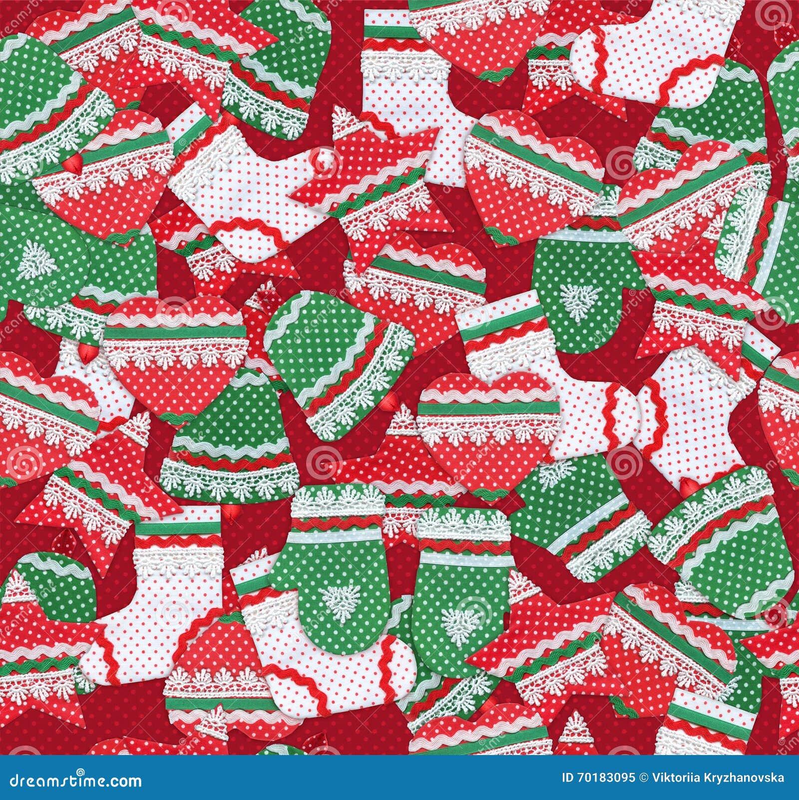 Sömlös julmodell med handgjorda julsymboler