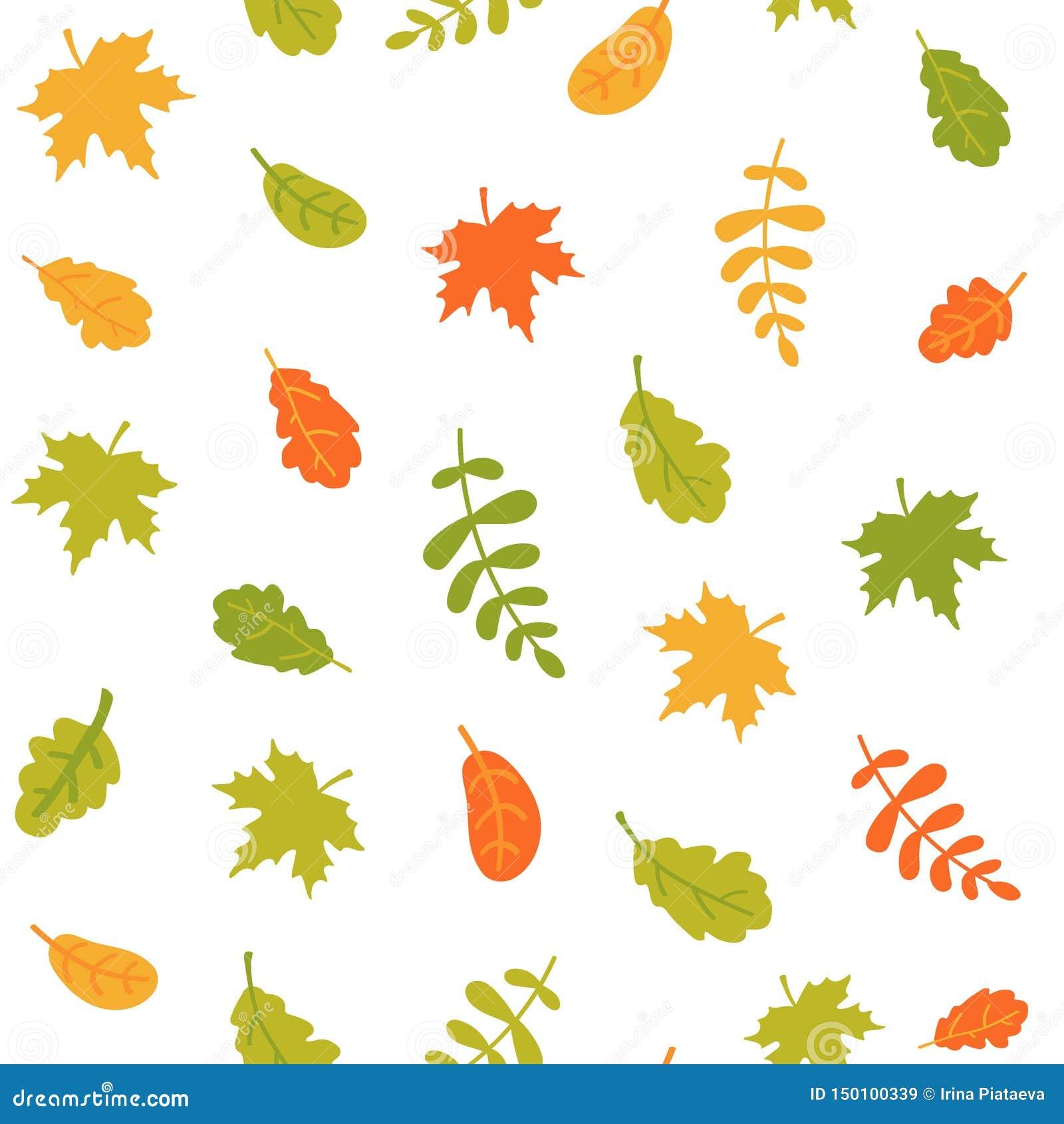Sömlös modell av fallande höstsidor på en vit bakgrund Färgrika sidor av olika träd ocks? vektor f?r coreldrawillustration