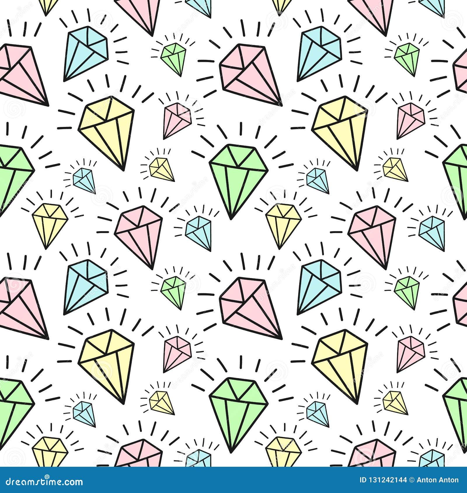 Sömlös modell av hand-drog glänsande diamanter Vektorbakgrundsbild för ferie, baby shower