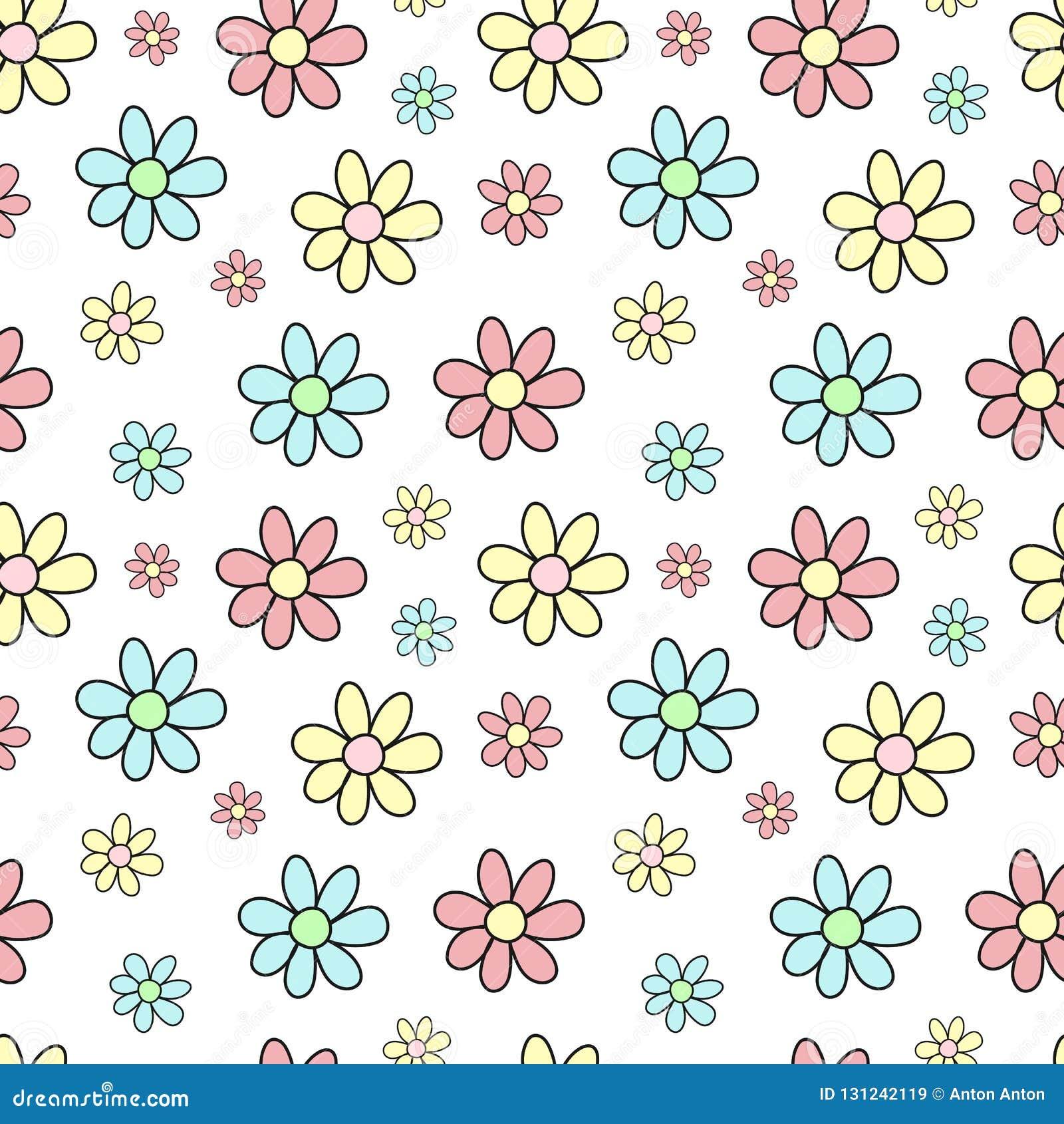 Sömlös modell av hand-drog mångfärgade blommor Vektorbakgrundsbilden för ferie, baby shower, girl'sfödelsedag, skrivar ut I