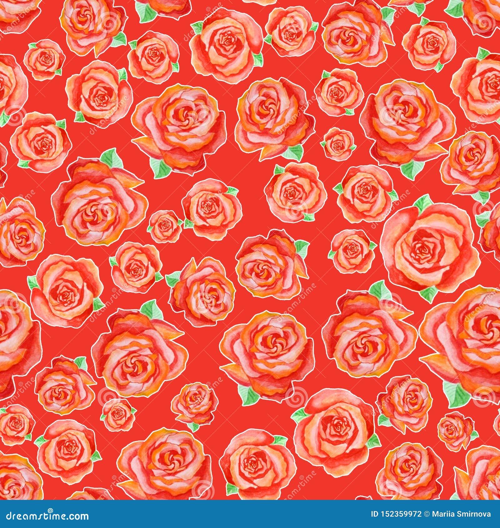 Sömlös modell av olika röda rosor med gröna sidor som ordnas på måfå på en röd bakgrund