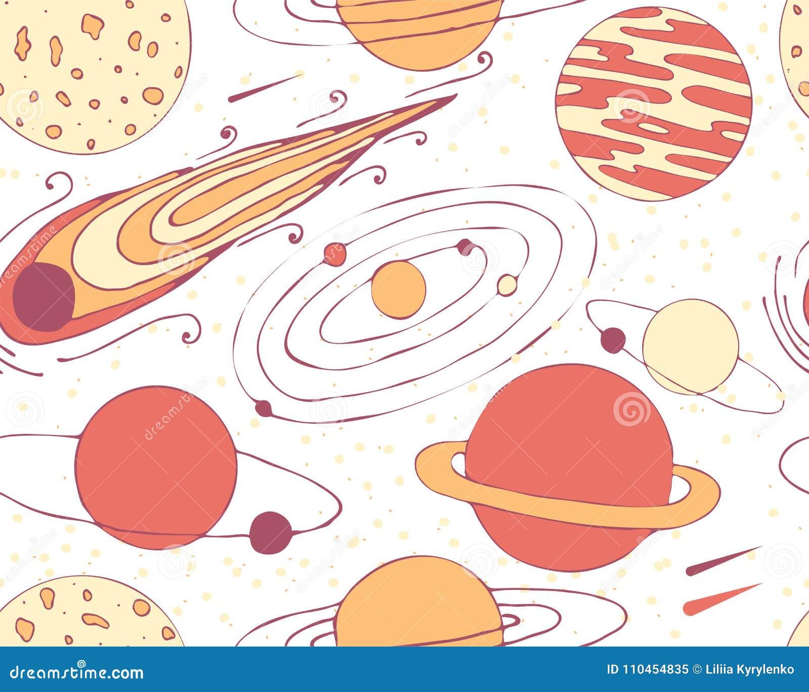 Sömlös modell av utrymmeobjekt Planeter och komet