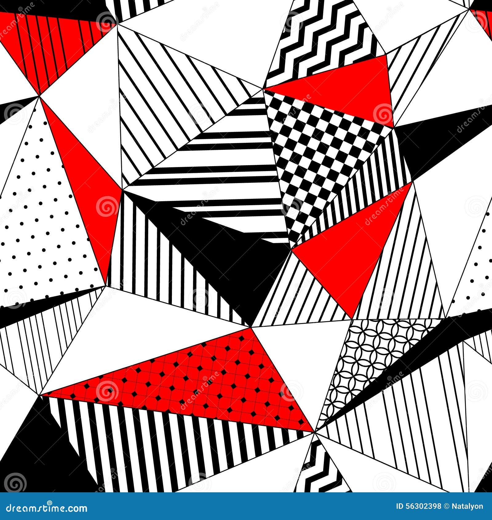 Sömlös modell för abstrakta geometriska randiga trianglar i svart vit och rött, vektor