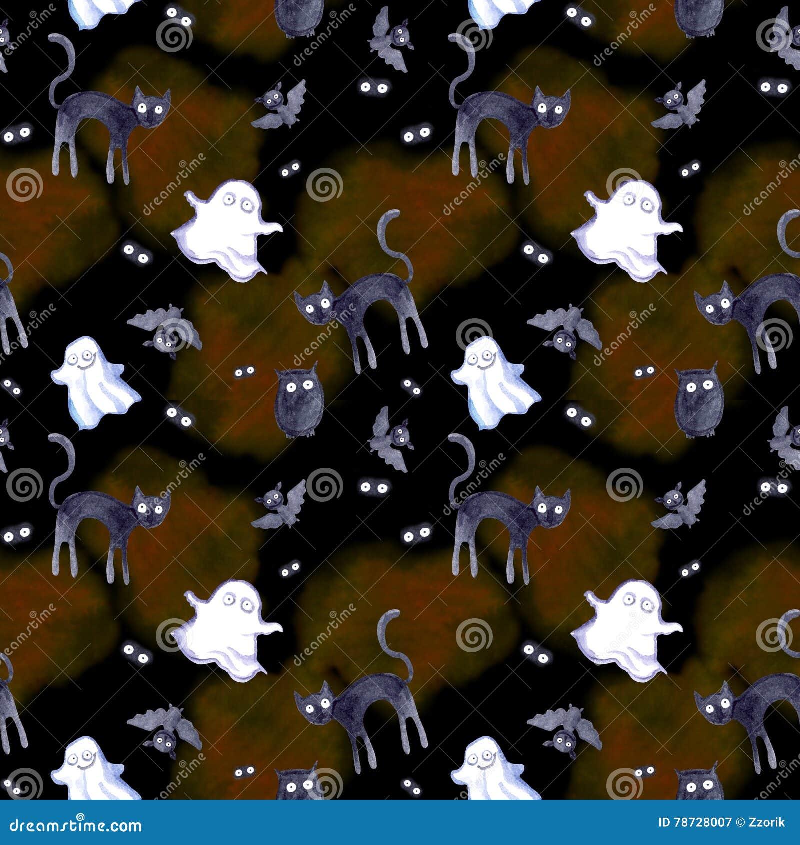 Sömlös modell för allhelgonaafton - pumpa, slagträ, spöke, katt Gullig vattenfärg