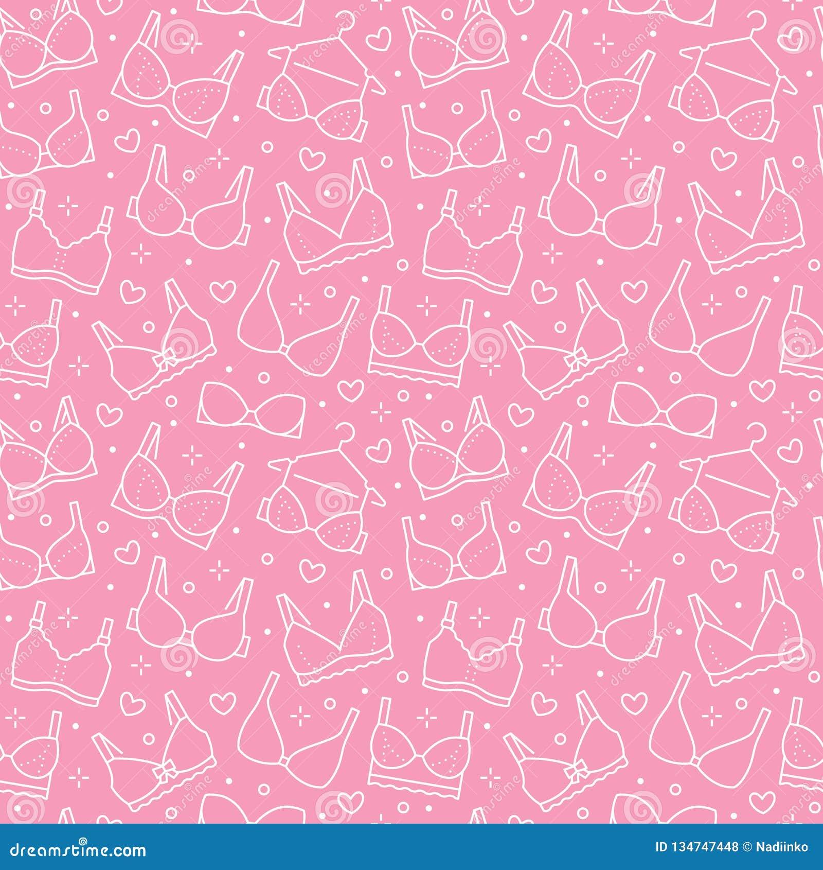 Sömlös modell för damunderkläder med den plana linjen symboler av behåtyper Kvinnaunderkläderbakgrund, vektorillustrationer av