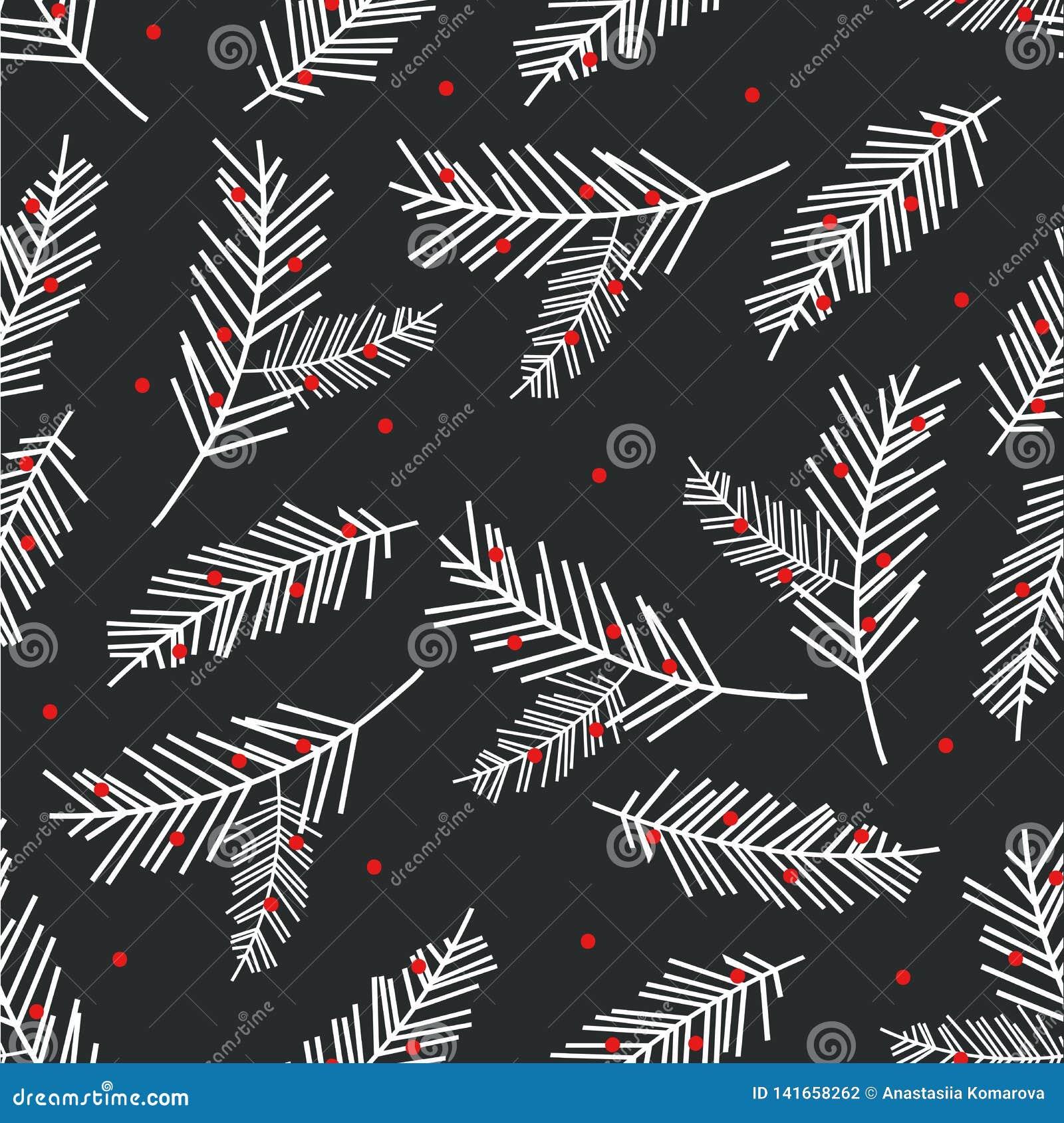 Sömlös modell för ferie med den prydliga filialen julen dekorerade illustrationtreen