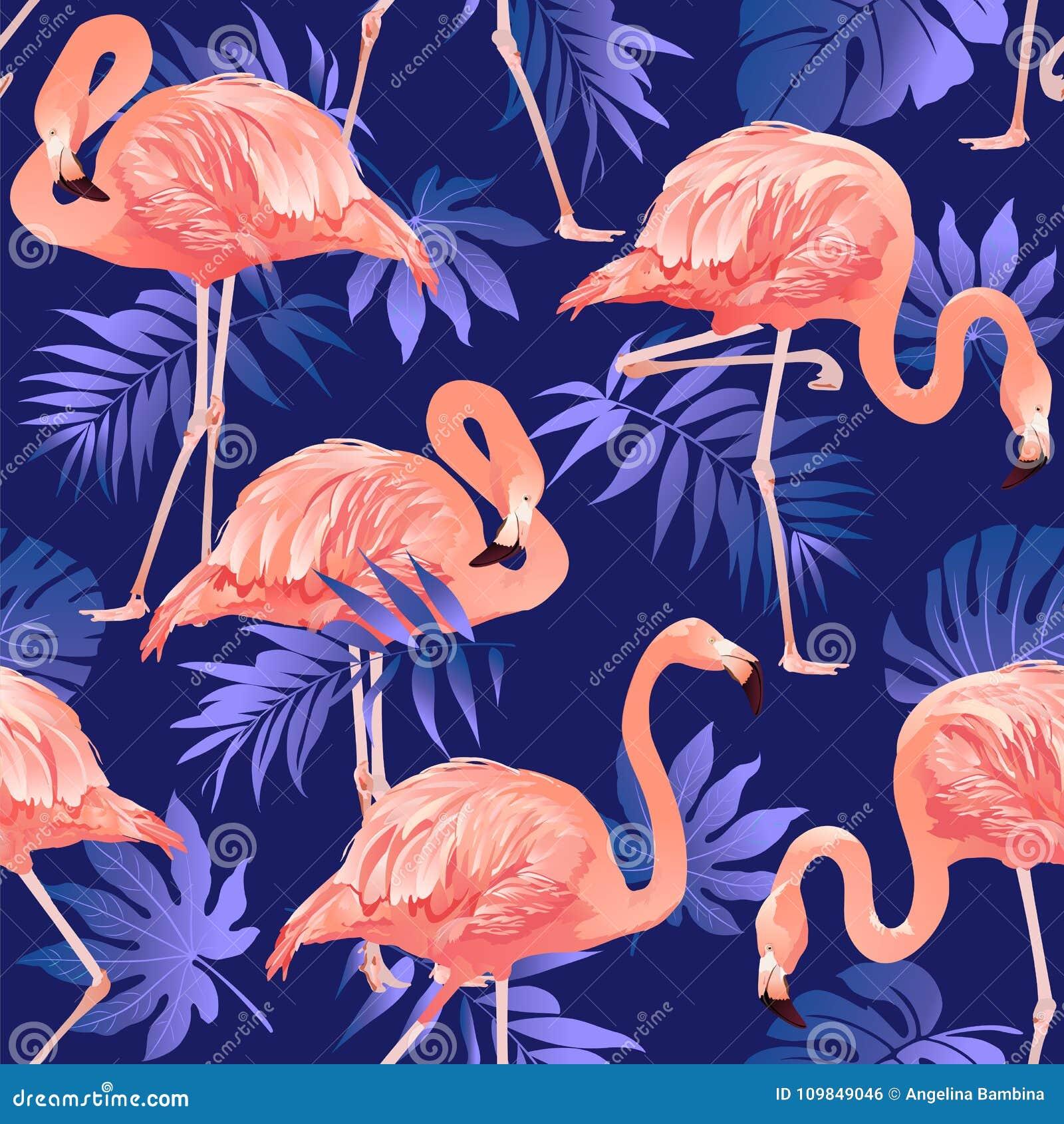 Sömlös modell för flamingofågel och för tropisk blommabakgrund