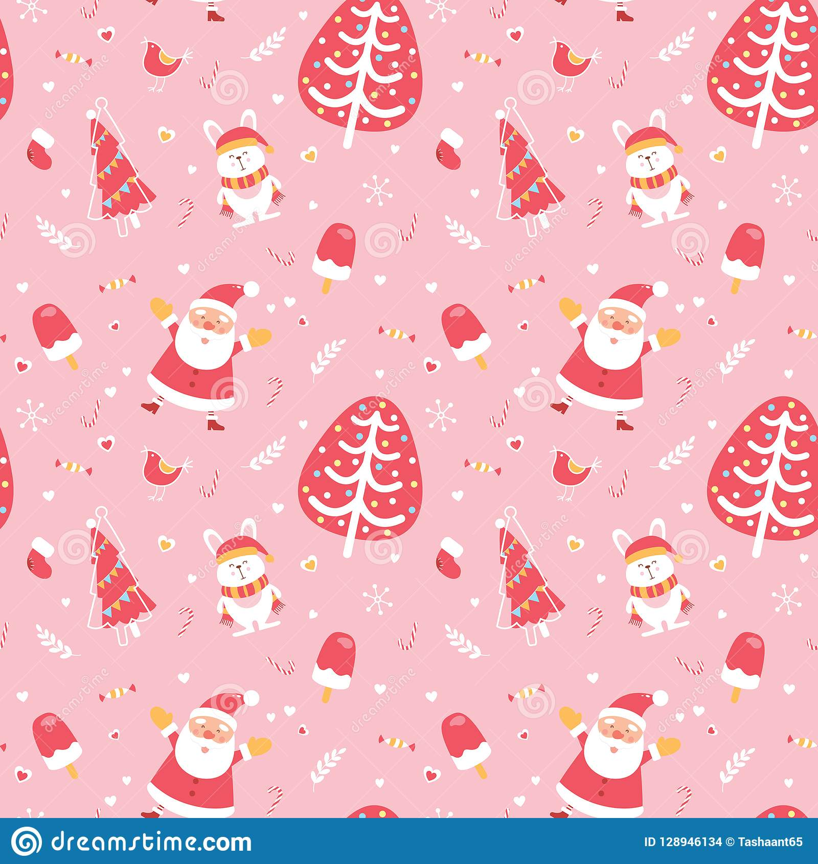 Sömlös modell för gullig glad jul och för lyckligt nytt år Utmärkta illustrativa designbeståndsdelar