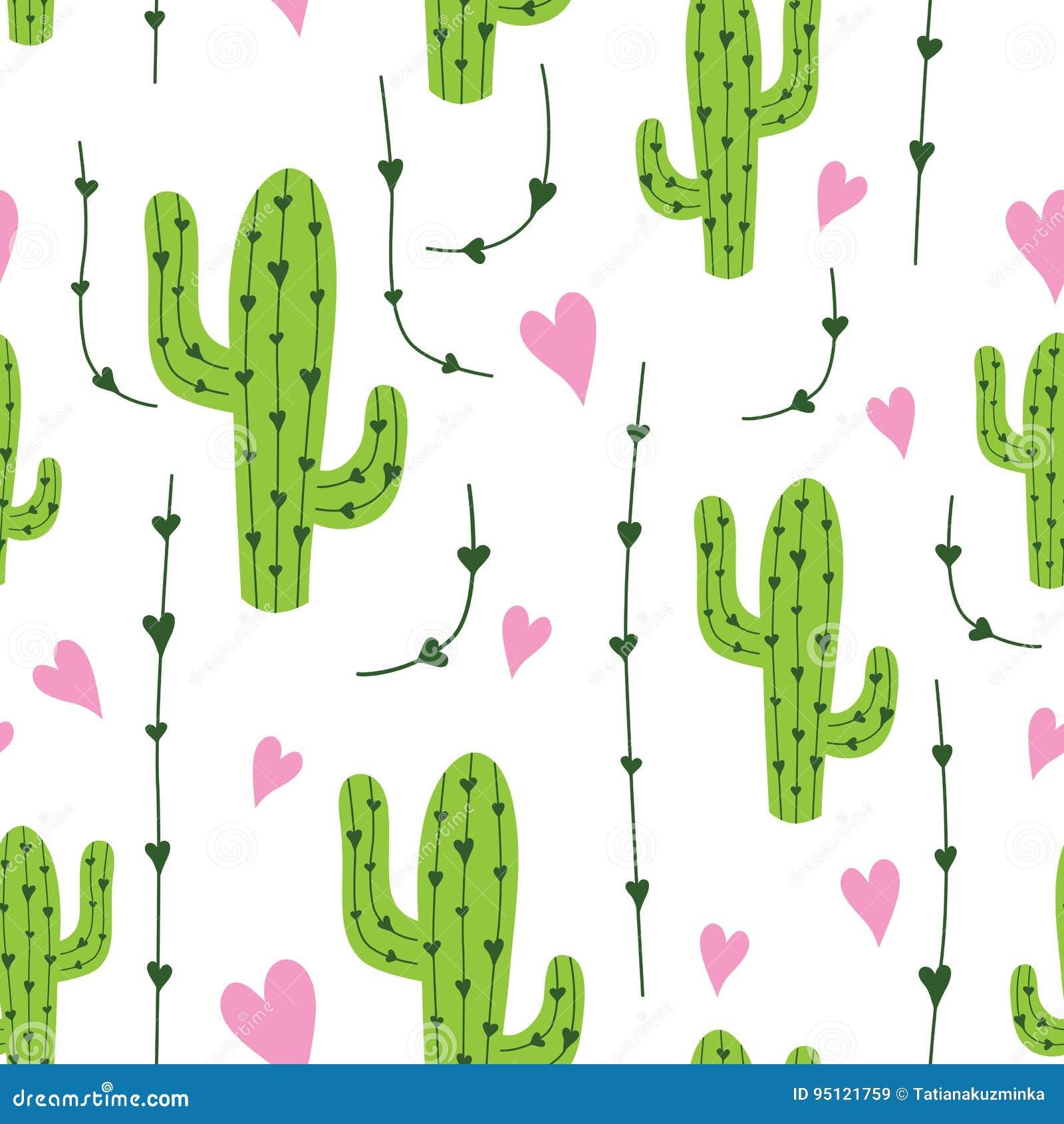 Sömlös modell för gullig kaktus med hjärtor i gräsplan-, rosa färg- och vitfärger Naturlig vektorbakgrund