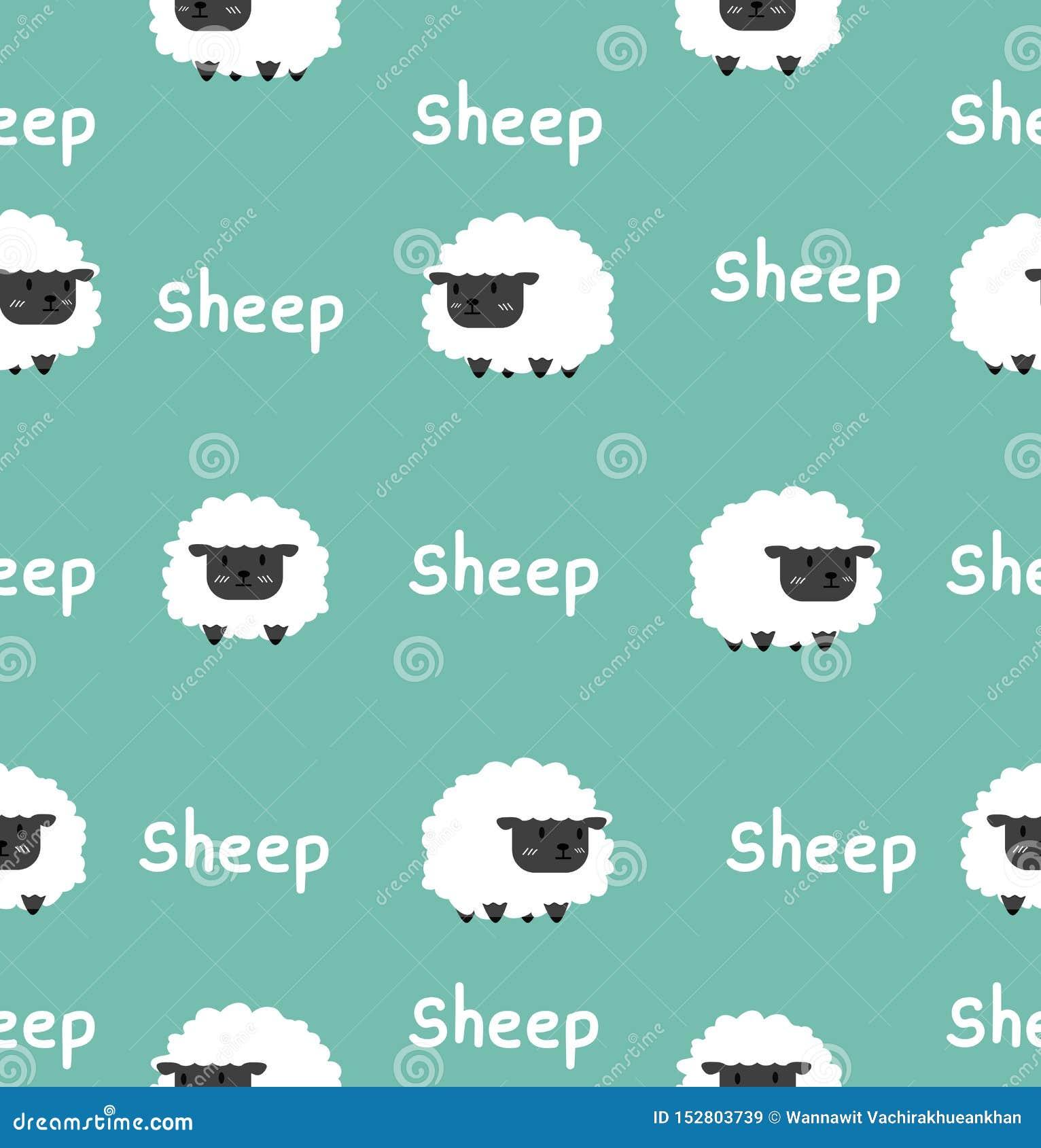 Sömlös modell för gullig svart liten fårvektor
