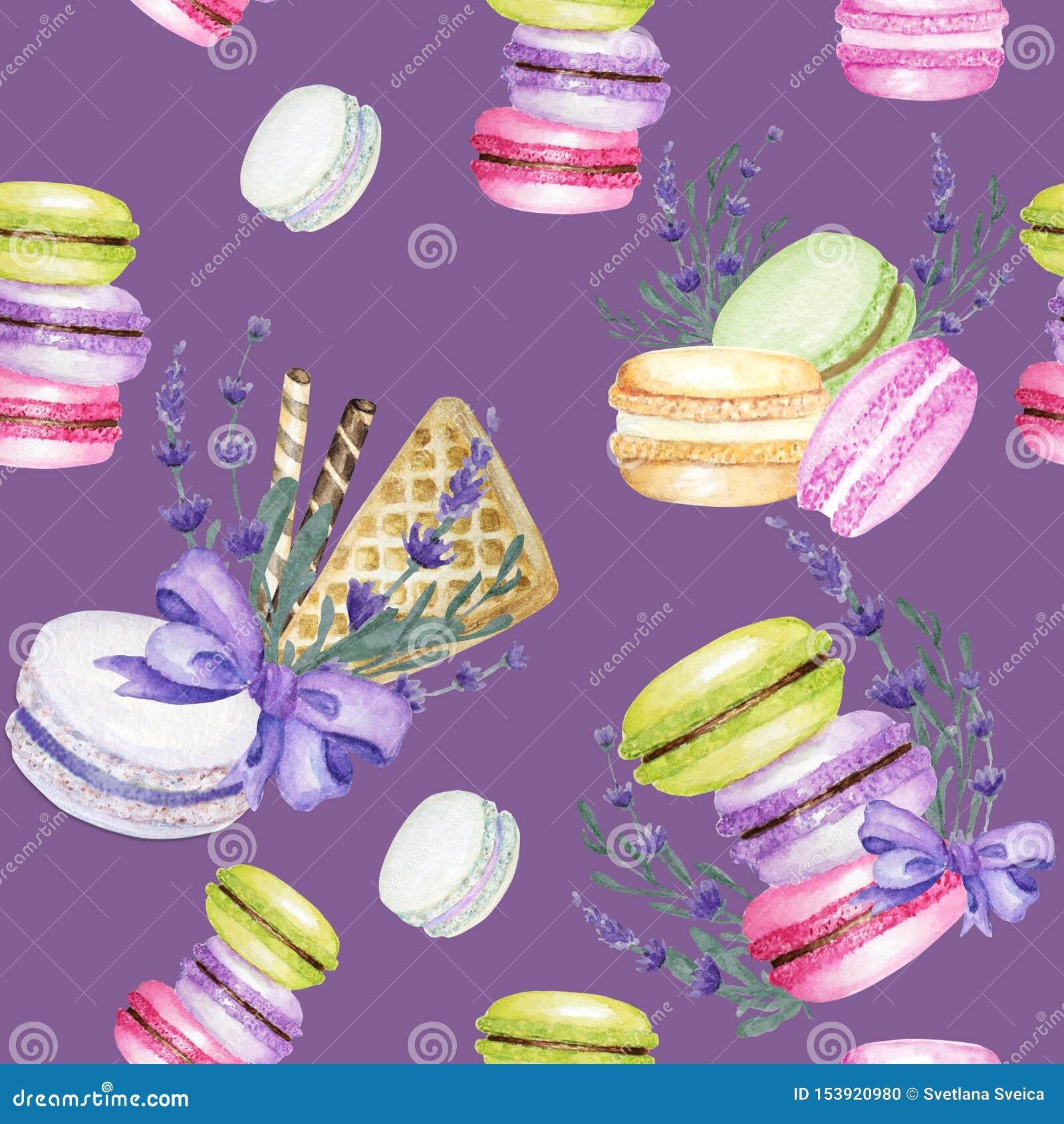 Sömlös modell för ljus vattenfärg för färgMacarons kaka på purpurfärgad bakgrund med lavendelblommor f?rgrik s?tsak