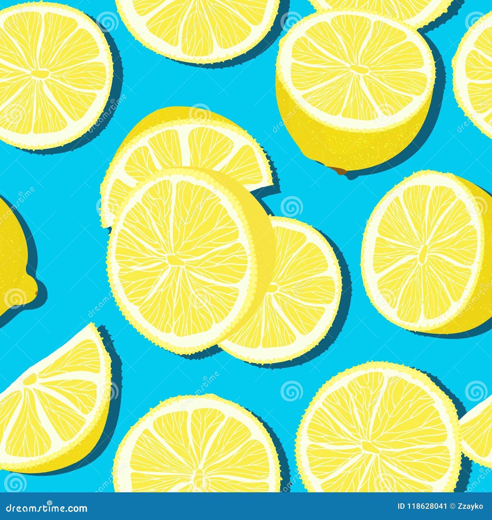 Sömlös modell för moderiktig minsta sommar med den hela skivade citronen för ny frukt på färgbakgrund